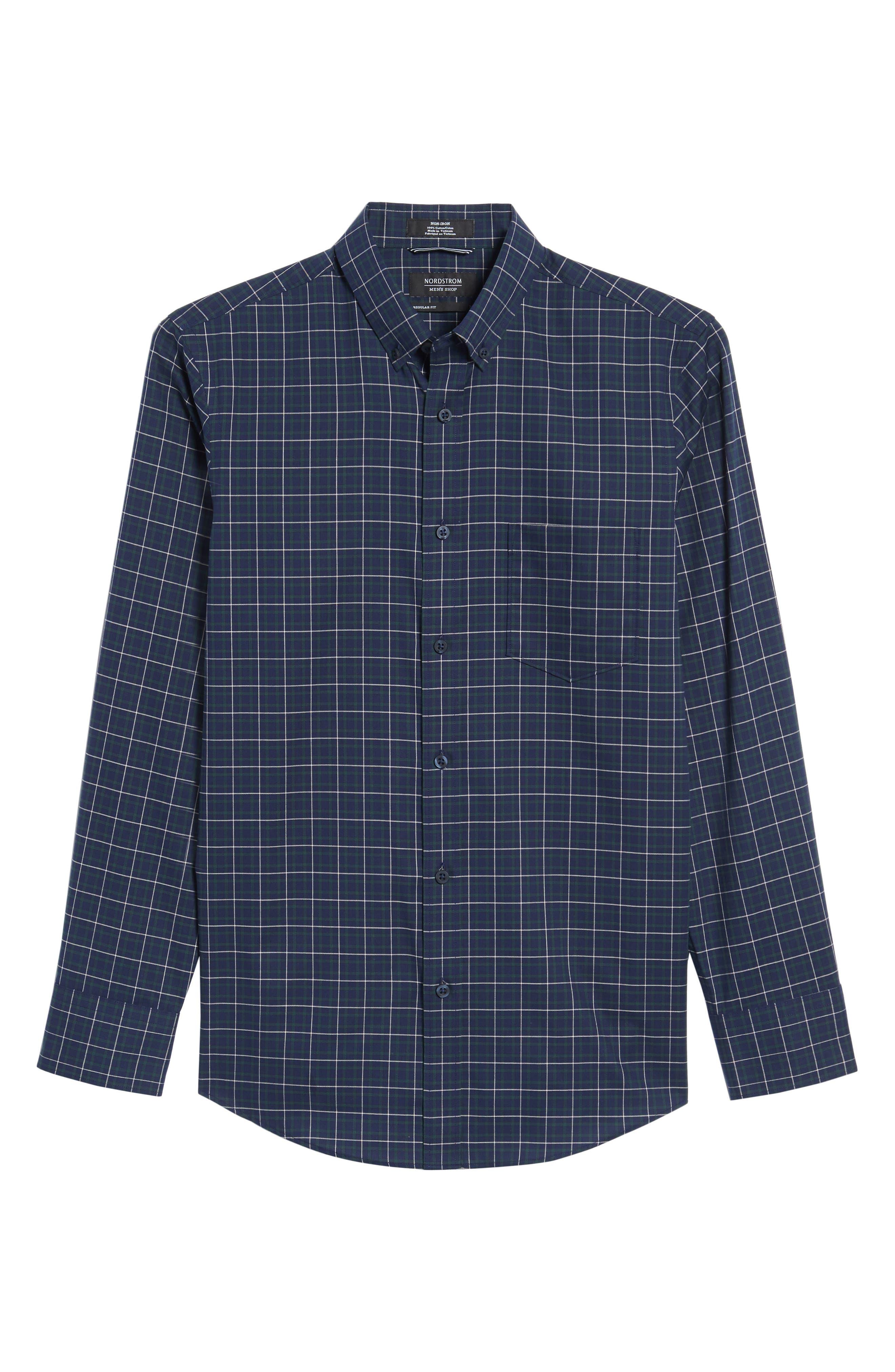 Alternate Image 6  - Nordstrom Men's Shop Regular Fit Non-Iron Plaid Sport Shirt