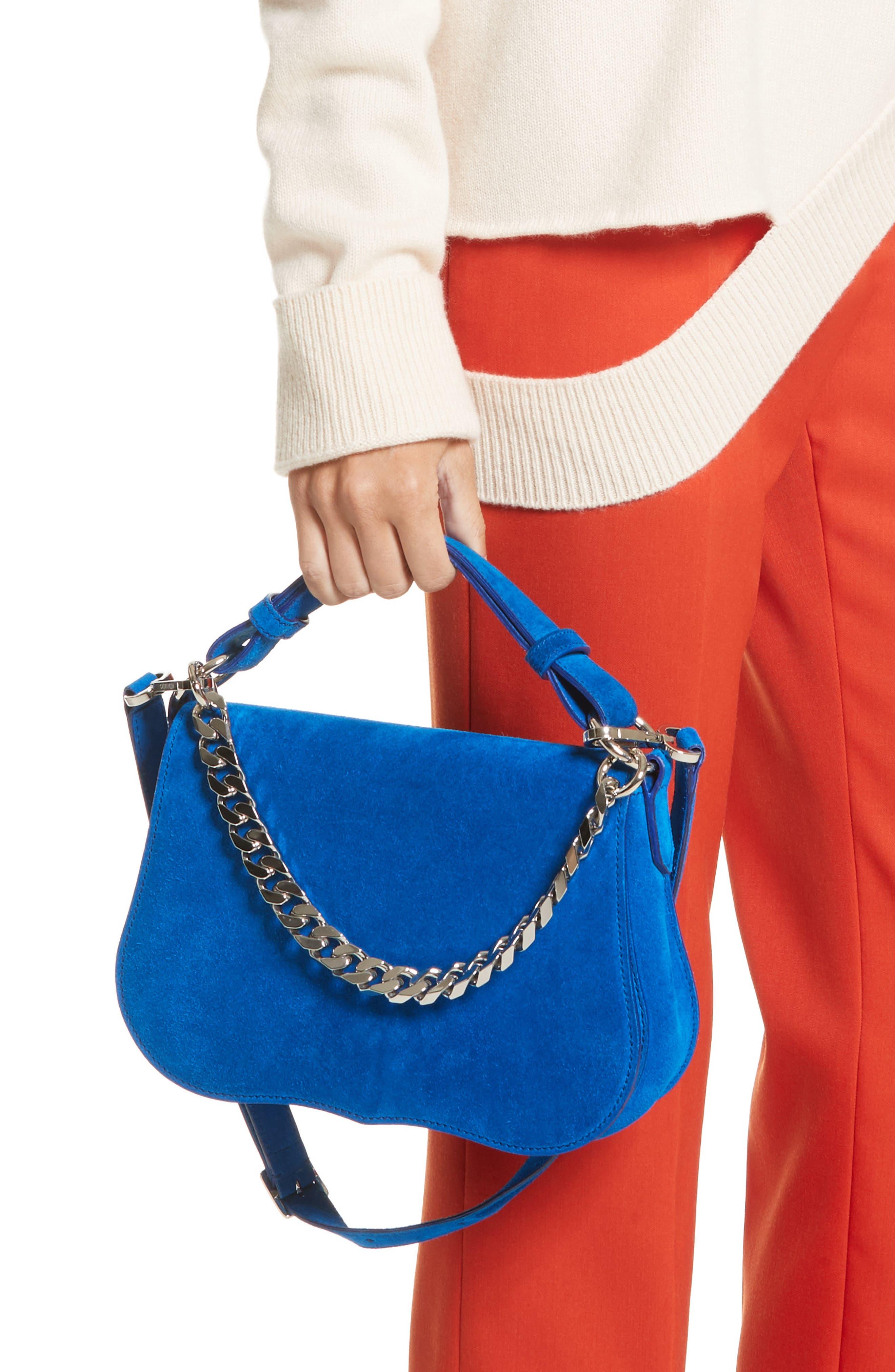 Small Suede Shoulder Bag,                             Alternate thumbnail 7, color,                             Lapis