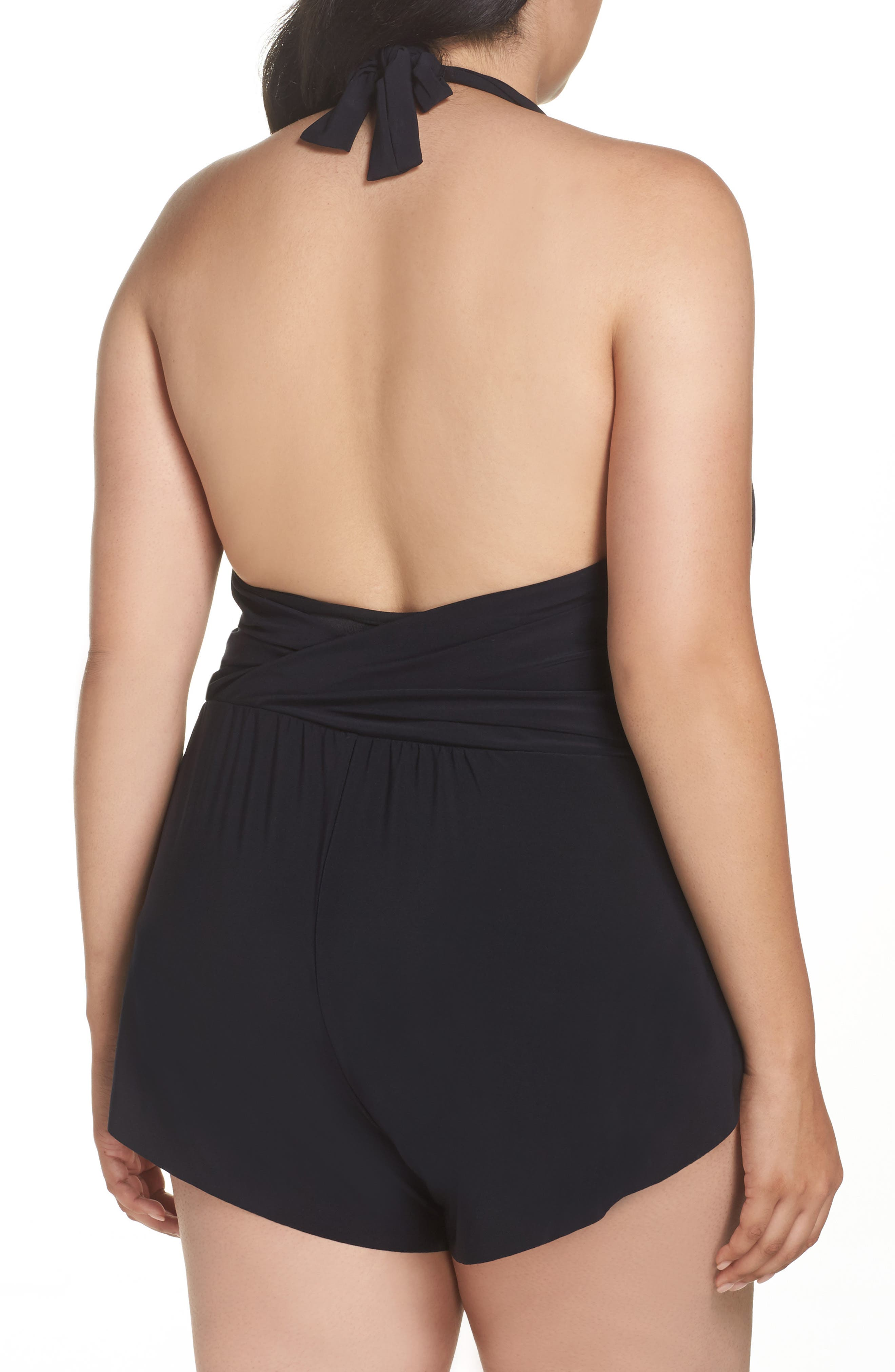 Bianca One-Piece Romper Swimsuit,                             Alternate thumbnail 2, color,                             Black