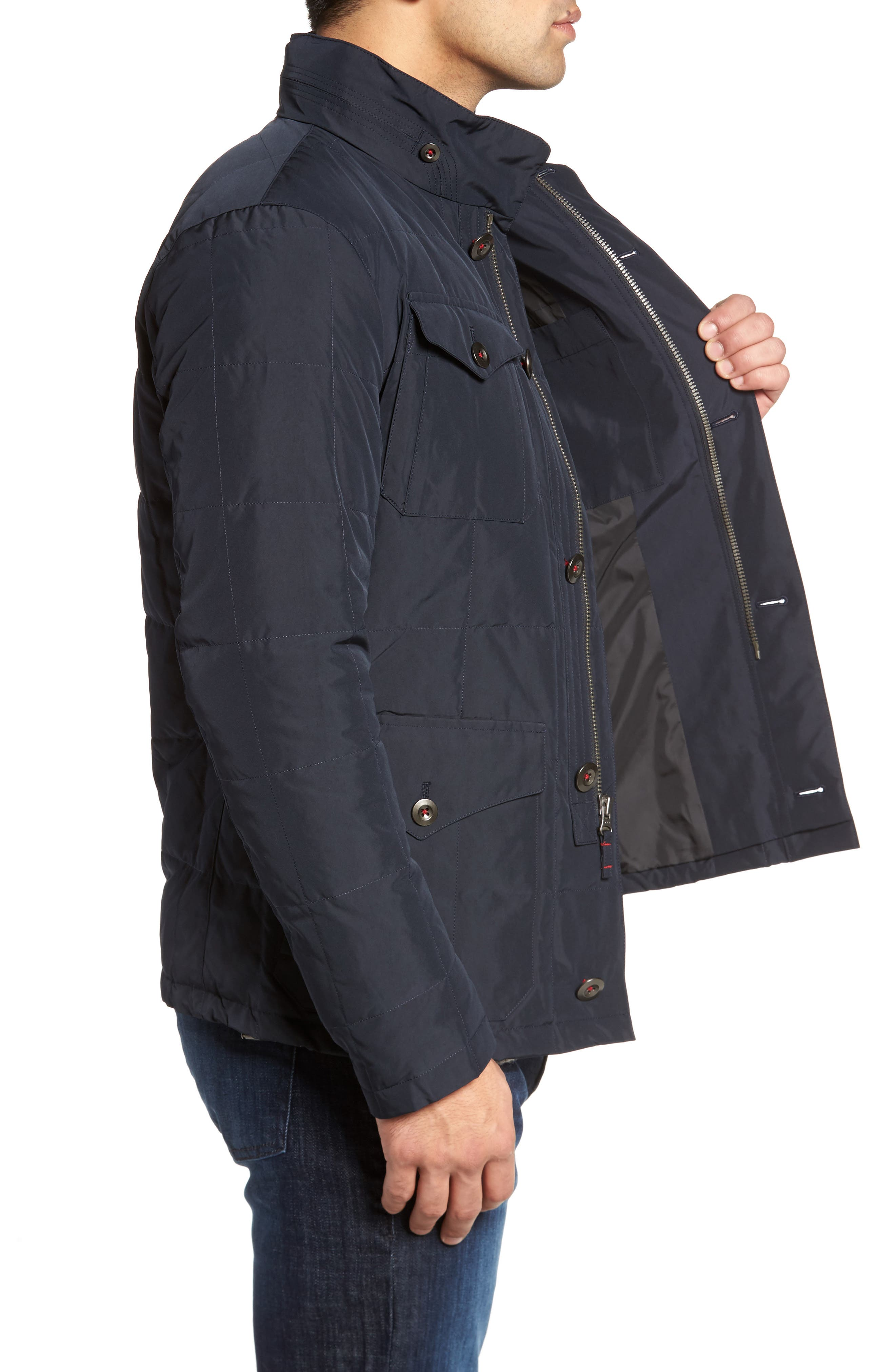 Quilted Down Field Jacket with Stowaway Hood,                             Alternate thumbnail 3, color,                             Midnight