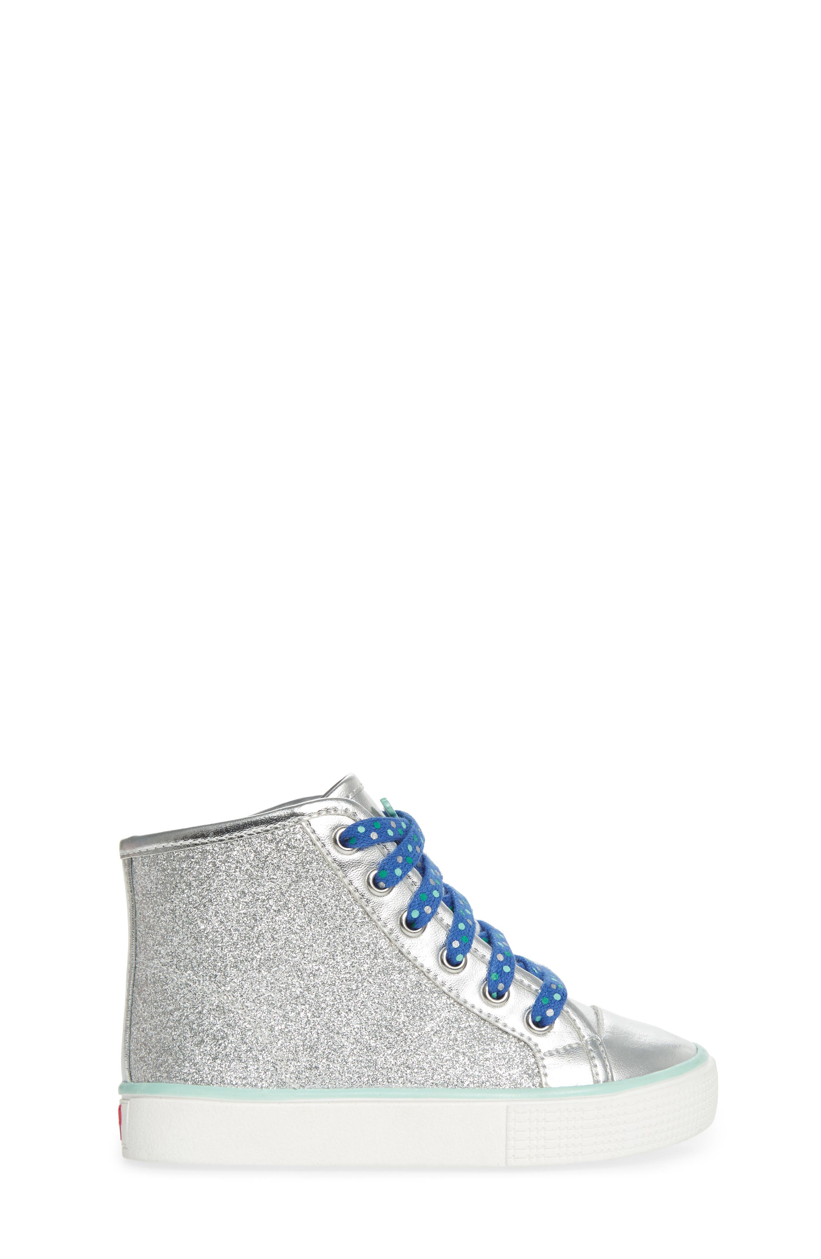Camille Glitter High Top Sneaker,                             Alternate thumbnail 3, color,                             Silver