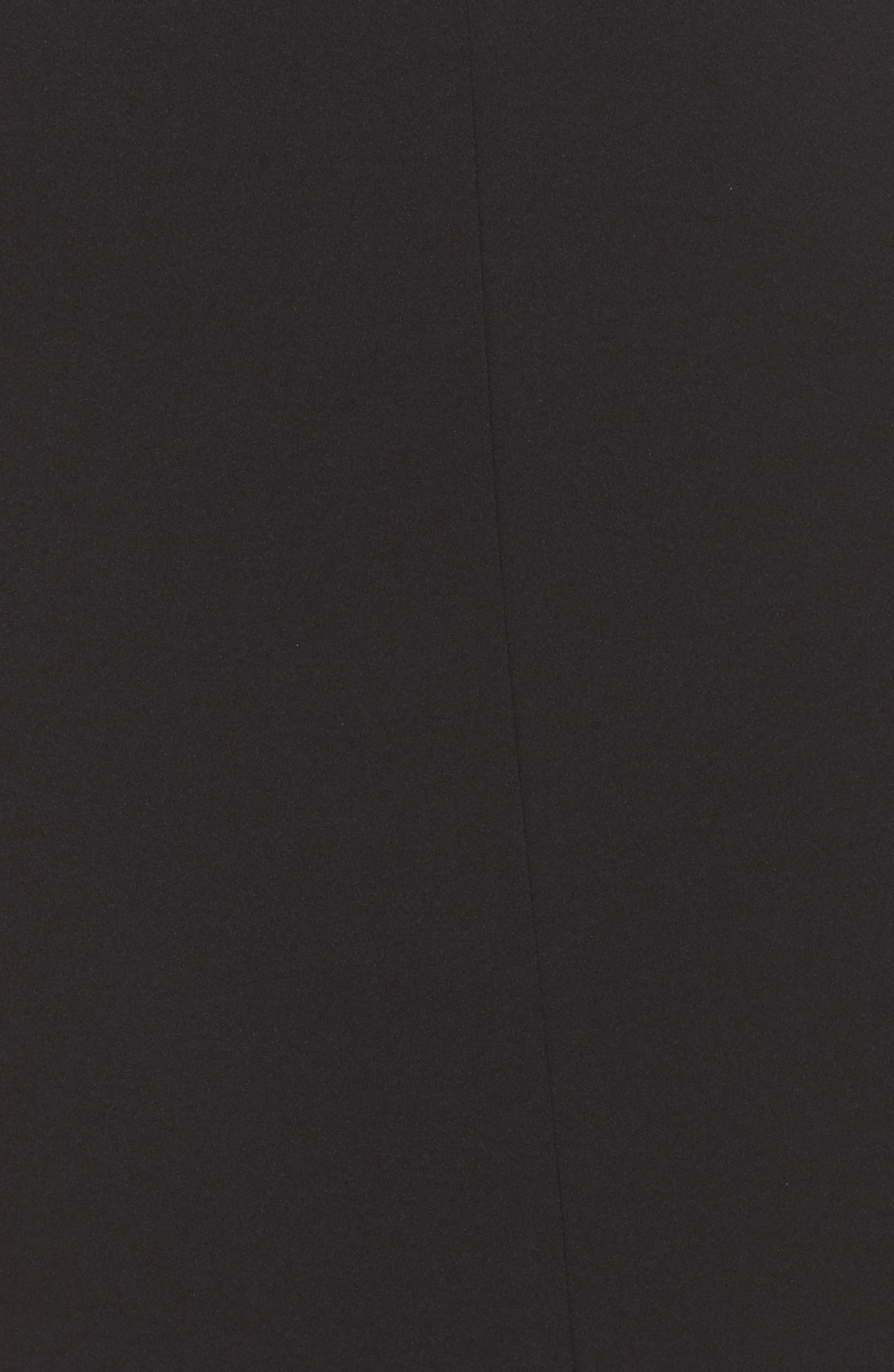 Stretch Crepe Sheath Dress,                             Alternate thumbnail 5, color,                             Black/ Ivory