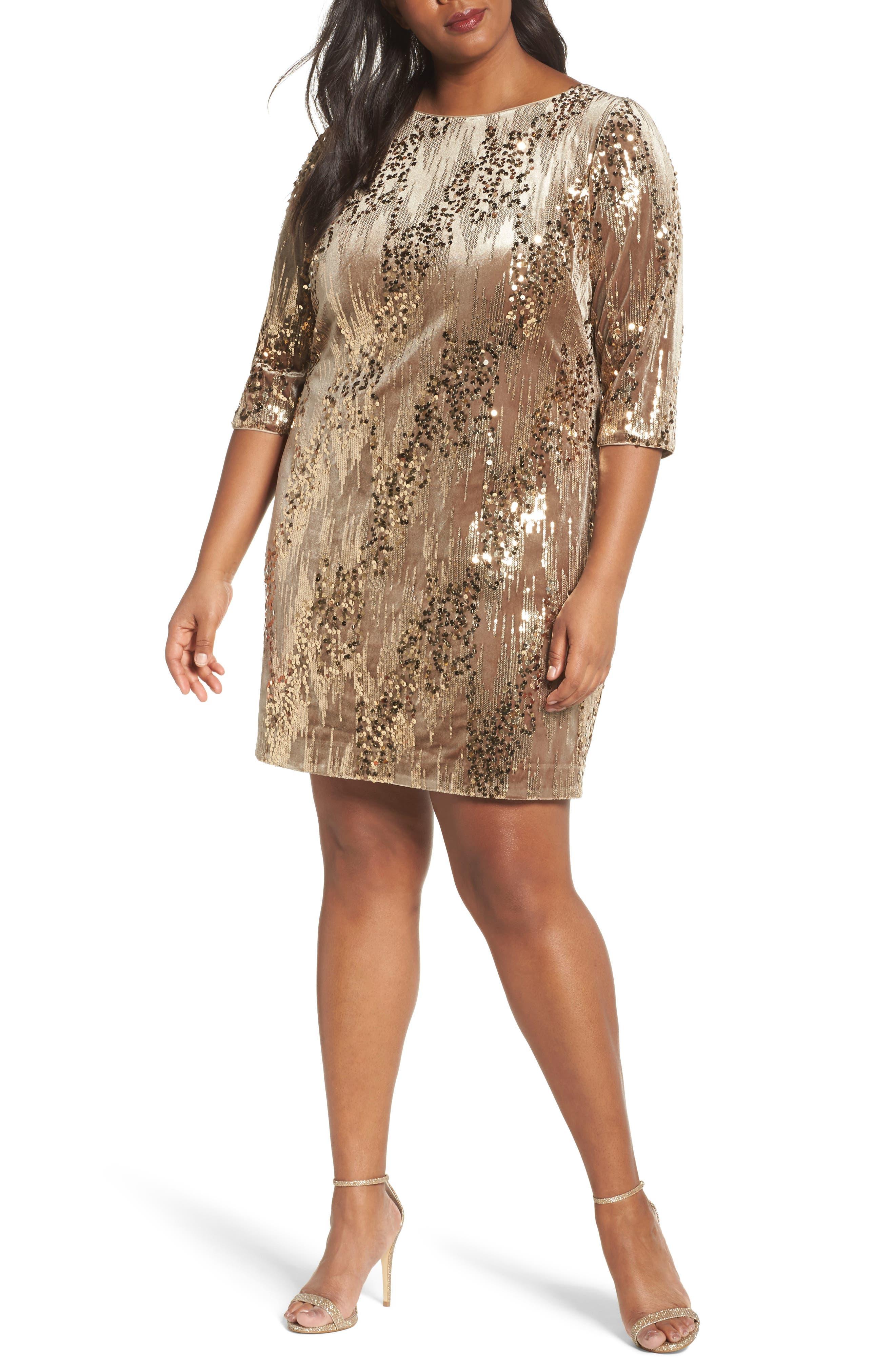 Sequin Sheath Dress,                             Main thumbnail 1, color,                             Tan