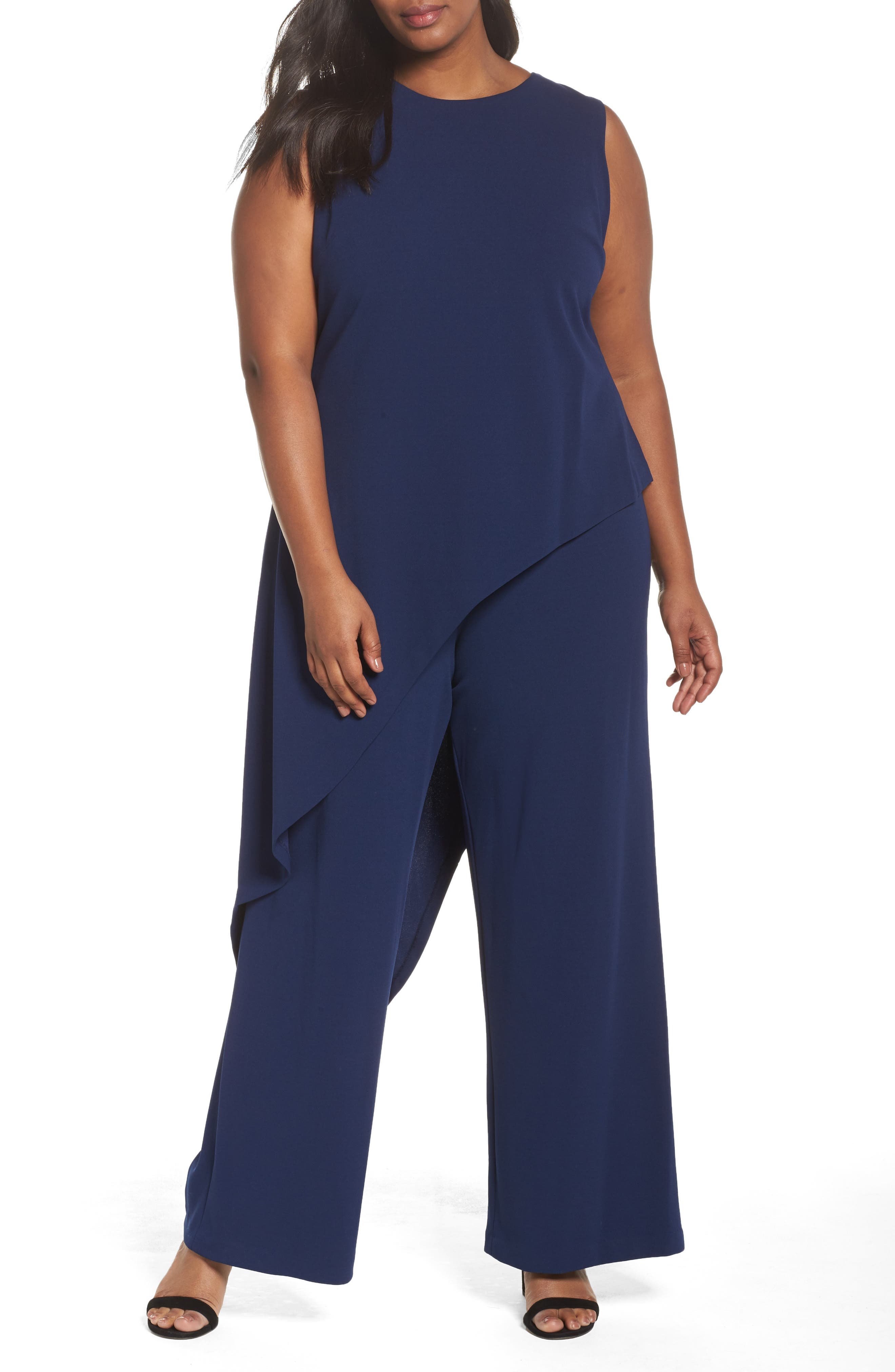 Adrianna Papell Knit Crepe Asymmetrical Jumpsuit (Plus Size)