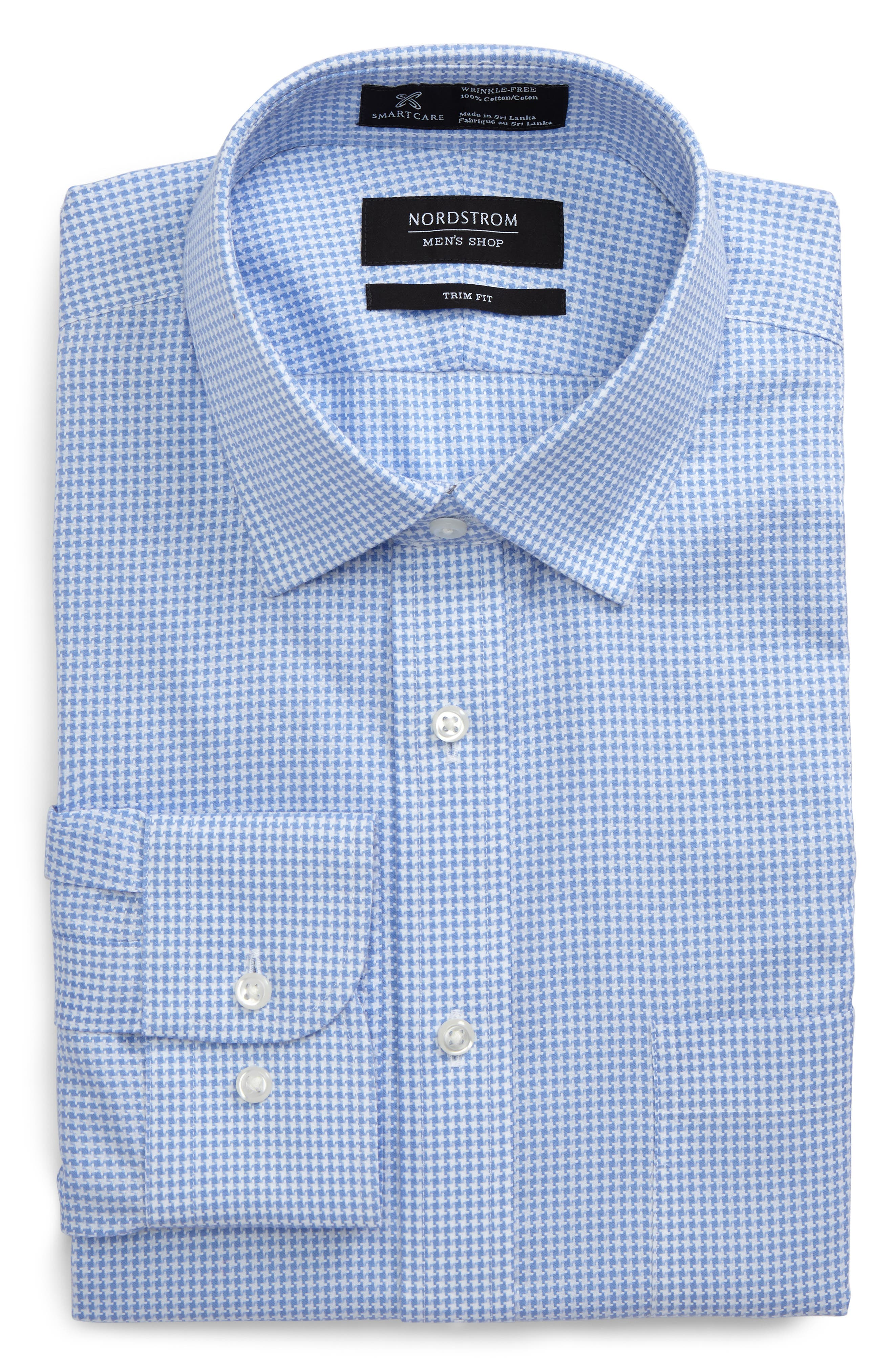 Smartcare<sup>™</sup> Trim Fit Houndstrooth Dress Shirt,                         Main,                         color, Blue Bell