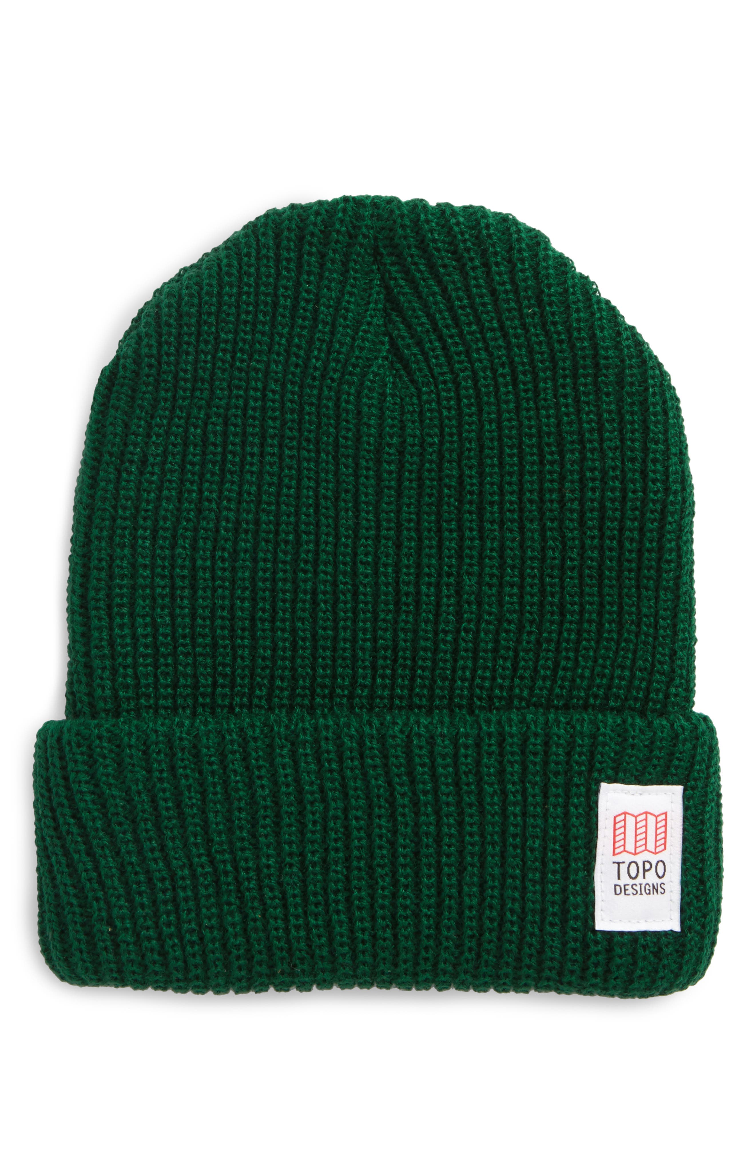 Topo Designers Heavyweight Knit Cap,                         Main,                         color, Forest