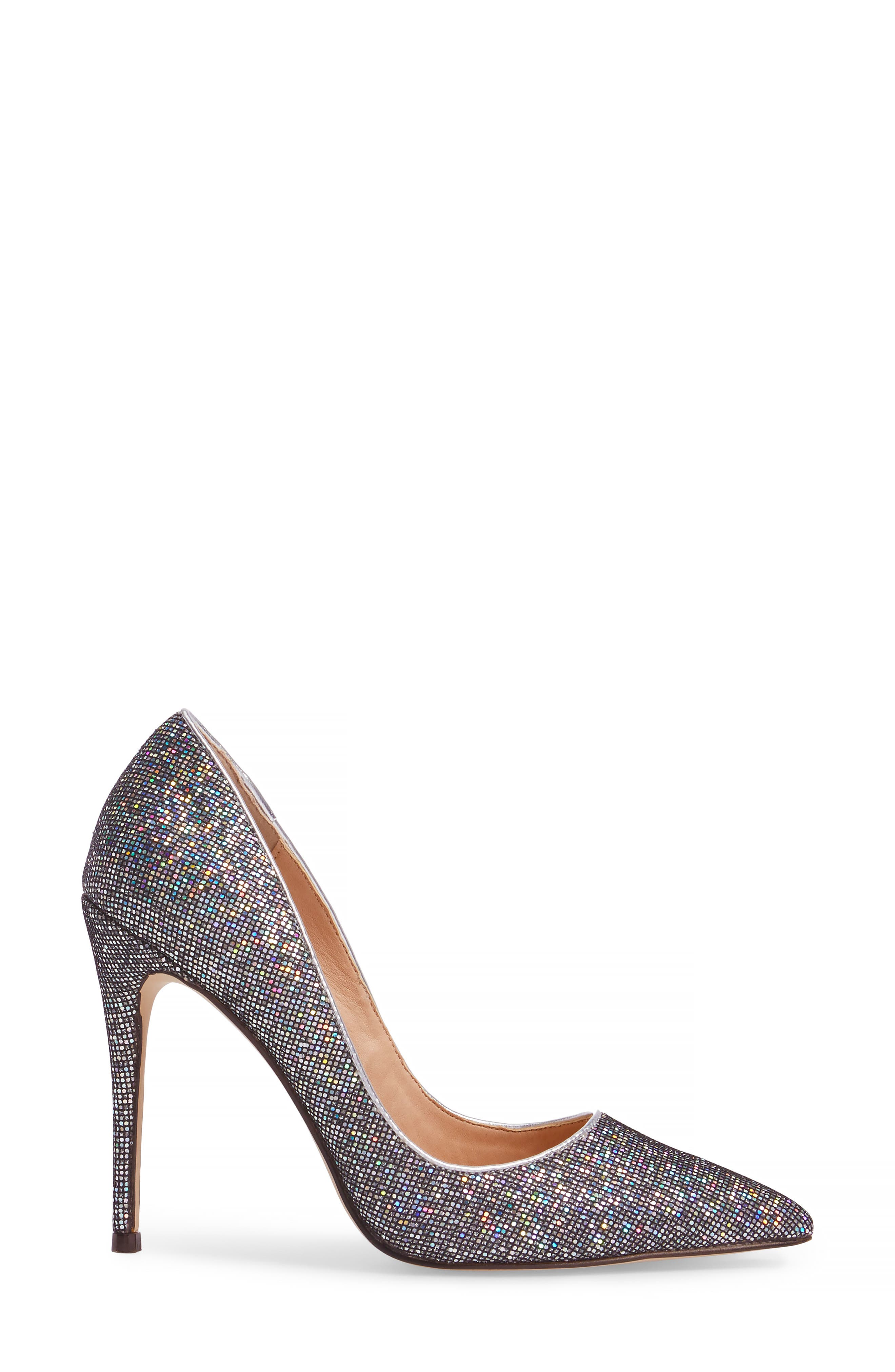 Daisie Pointy-Toe Pump,                             Alternate thumbnail 3, color,                             Black Multi Glitter
