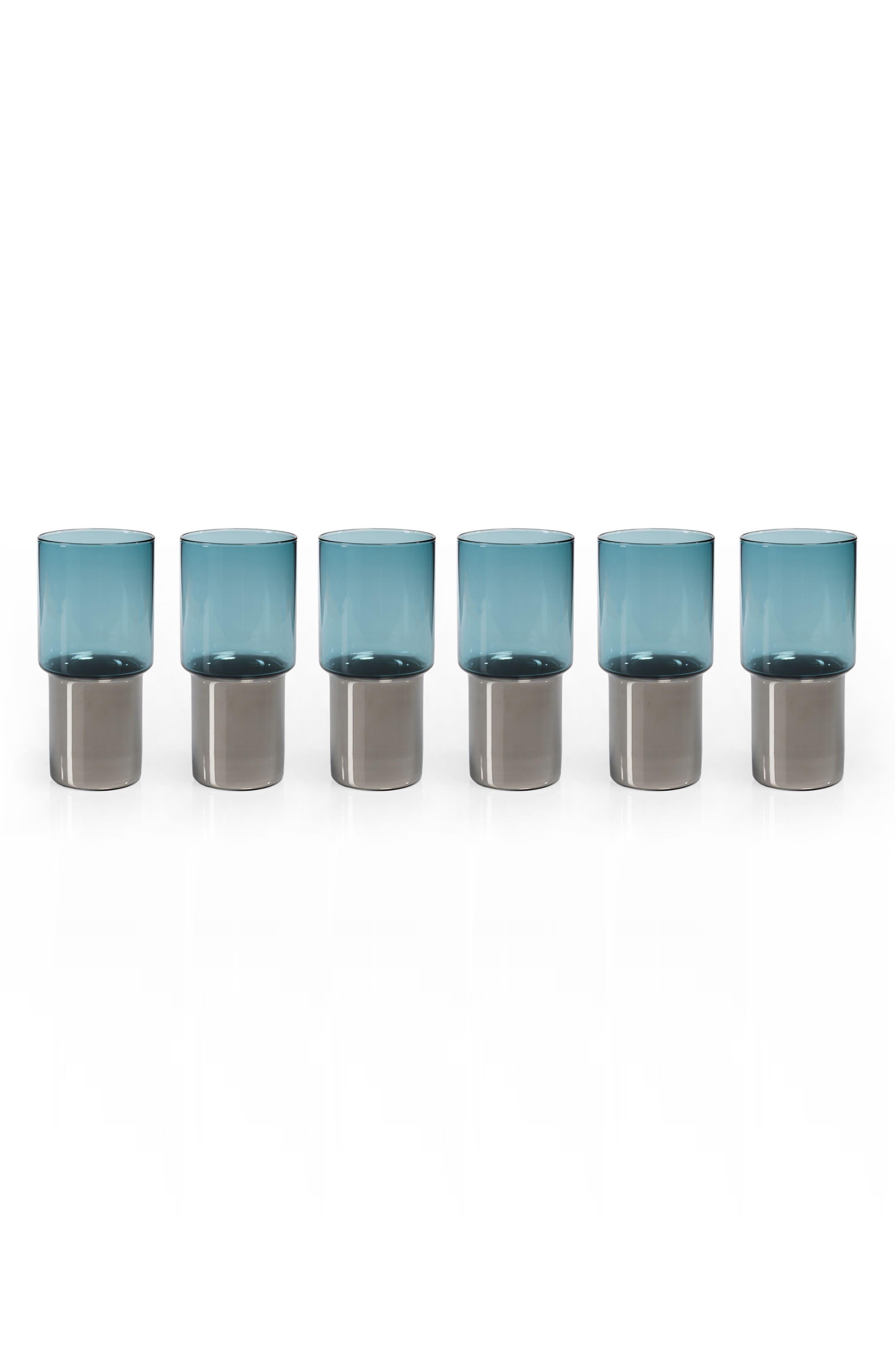Como Set of 6 Highball Glasses,                         Main,                         color, Clear/ Grey/ Blue