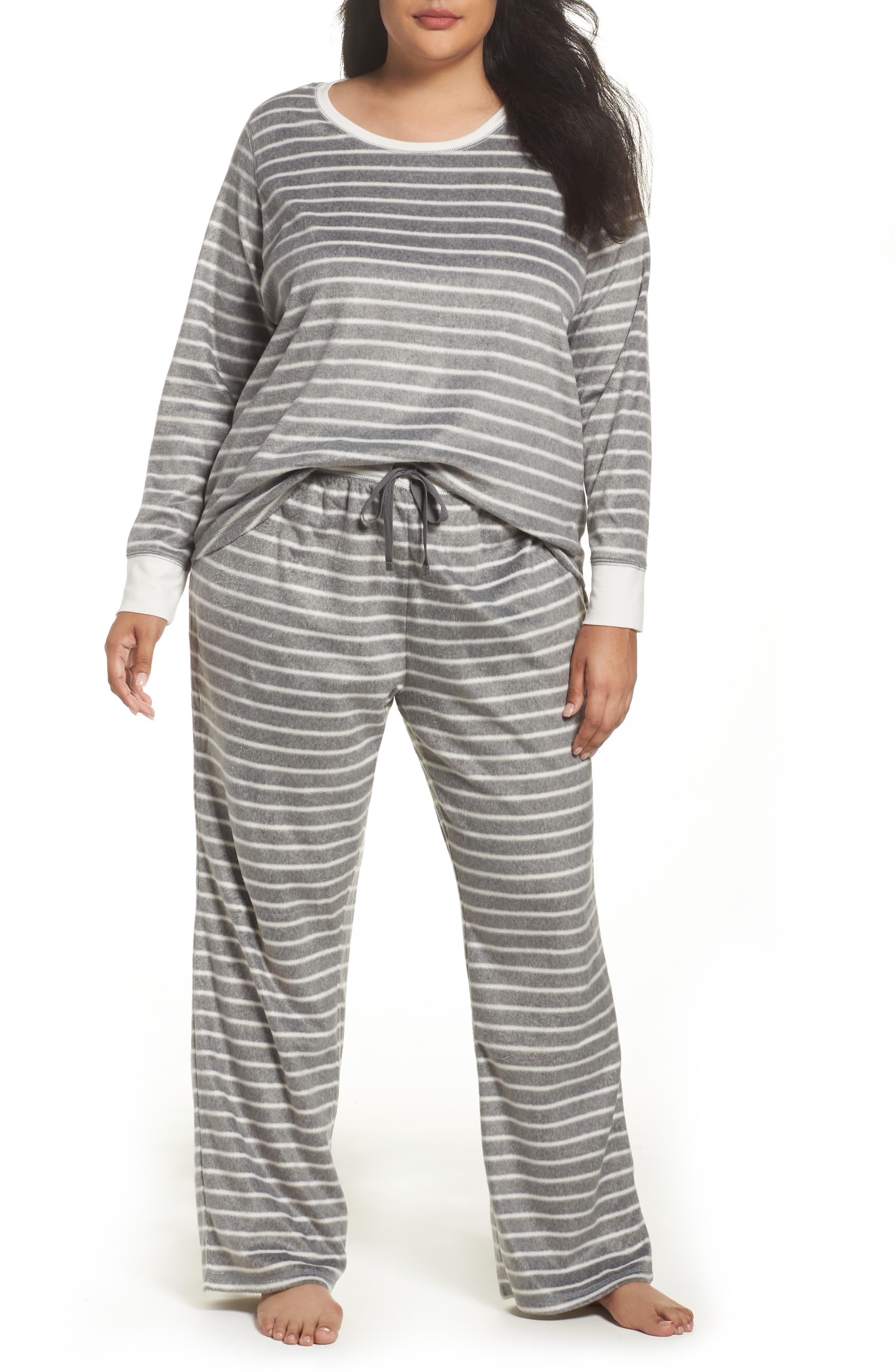 Polar Fleece Pajamas,                             Main thumbnail 1, color,                             Heather Grey