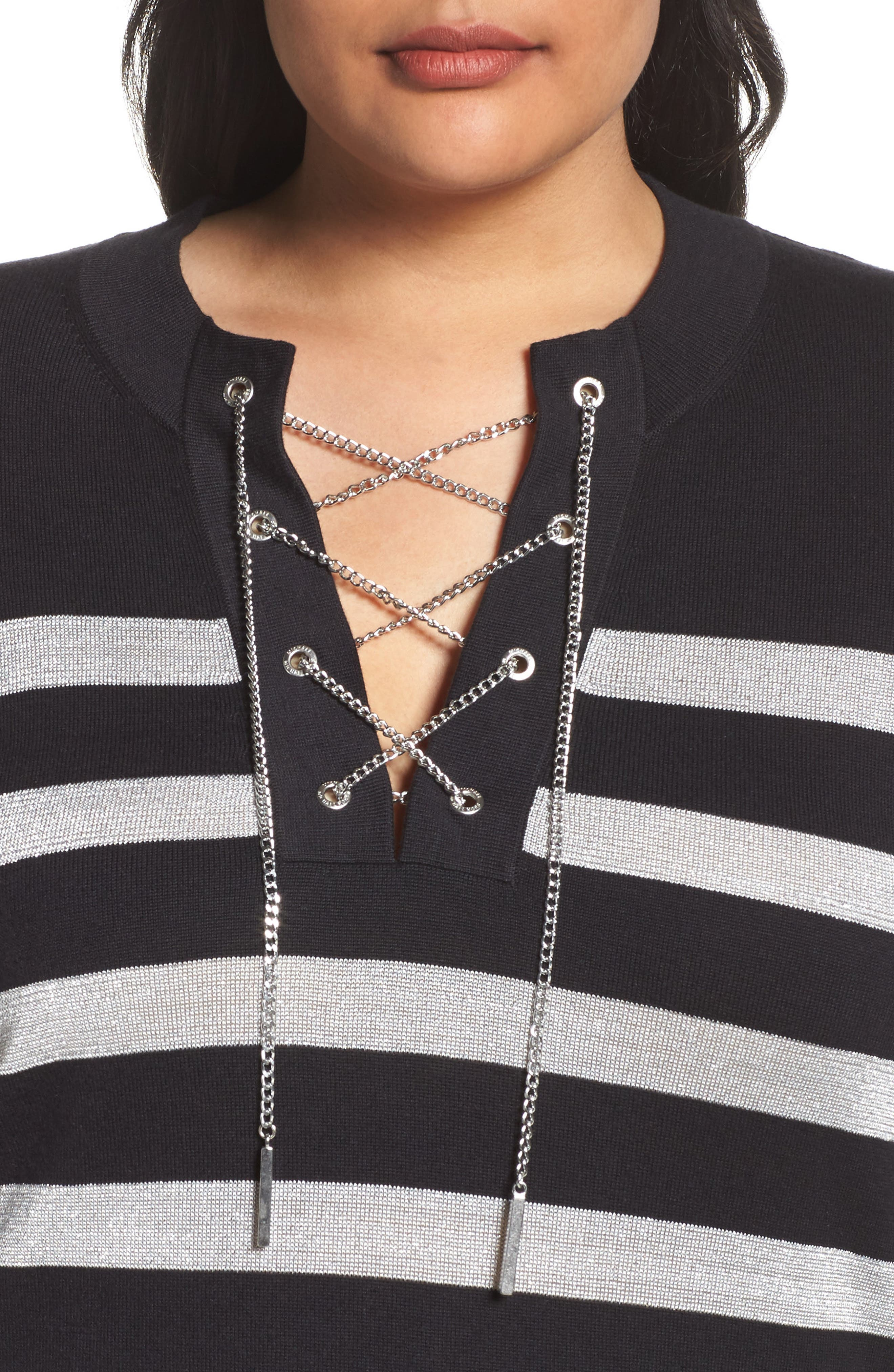 Chain Lace-Up Stripe Sweater,                             Alternate thumbnail 4, color,                             Black