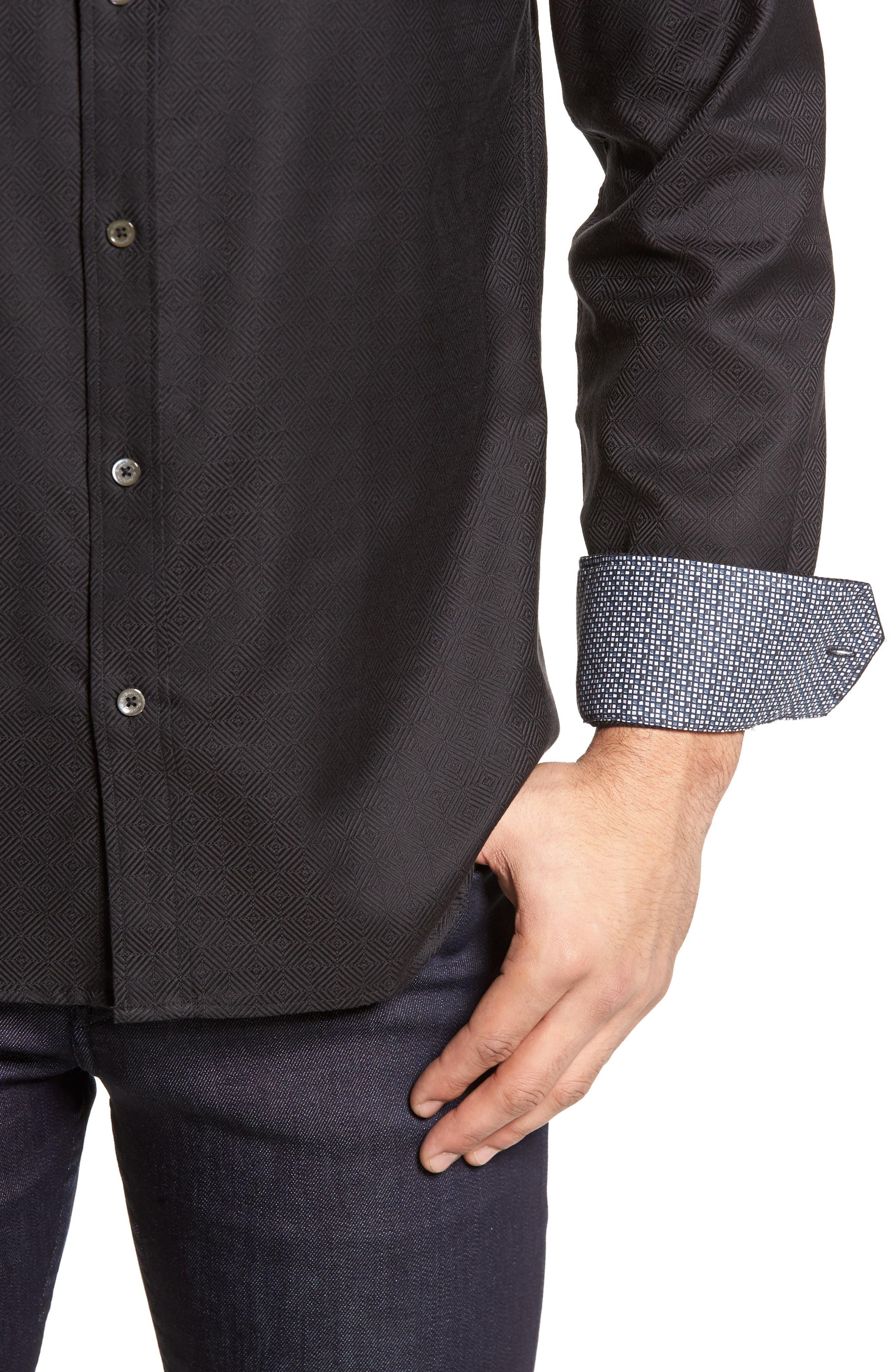 Slim Fit Diamond Jacquard Sport Shirt,                             Alternate thumbnail 4, color,                             Black