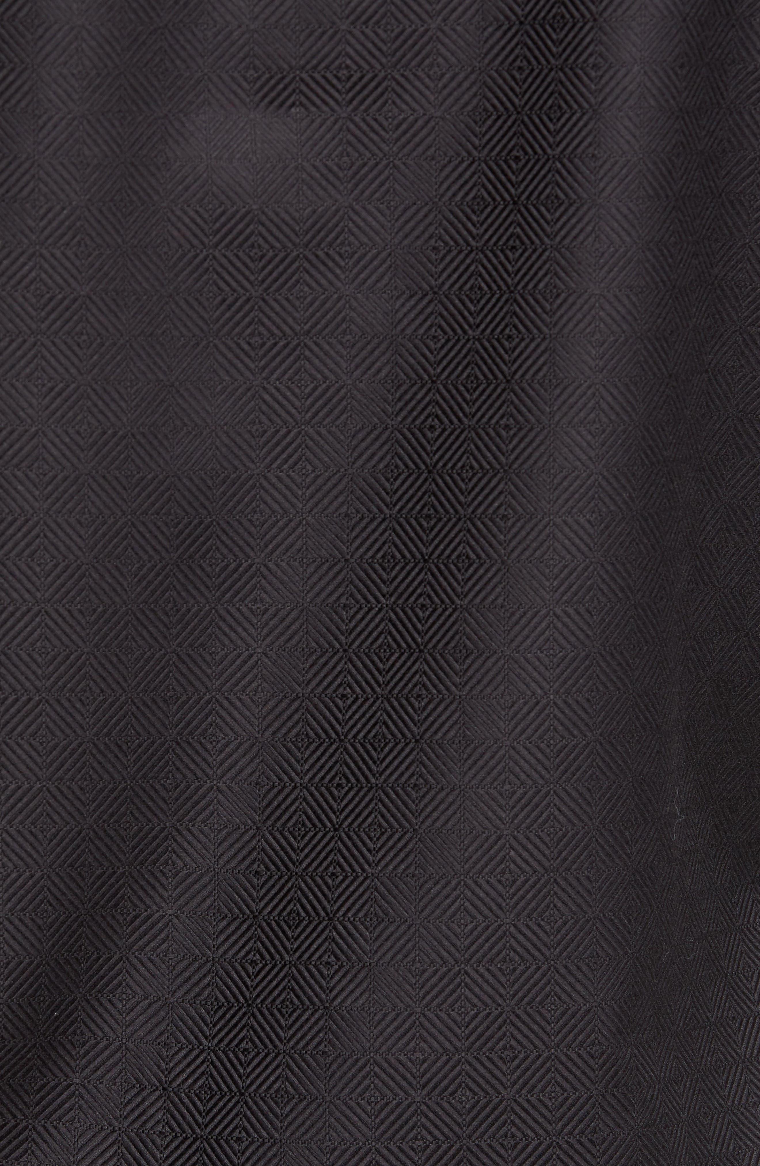 Slim Fit Diamond Jacquard Sport Shirt,                             Alternate thumbnail 5, color,                             Black