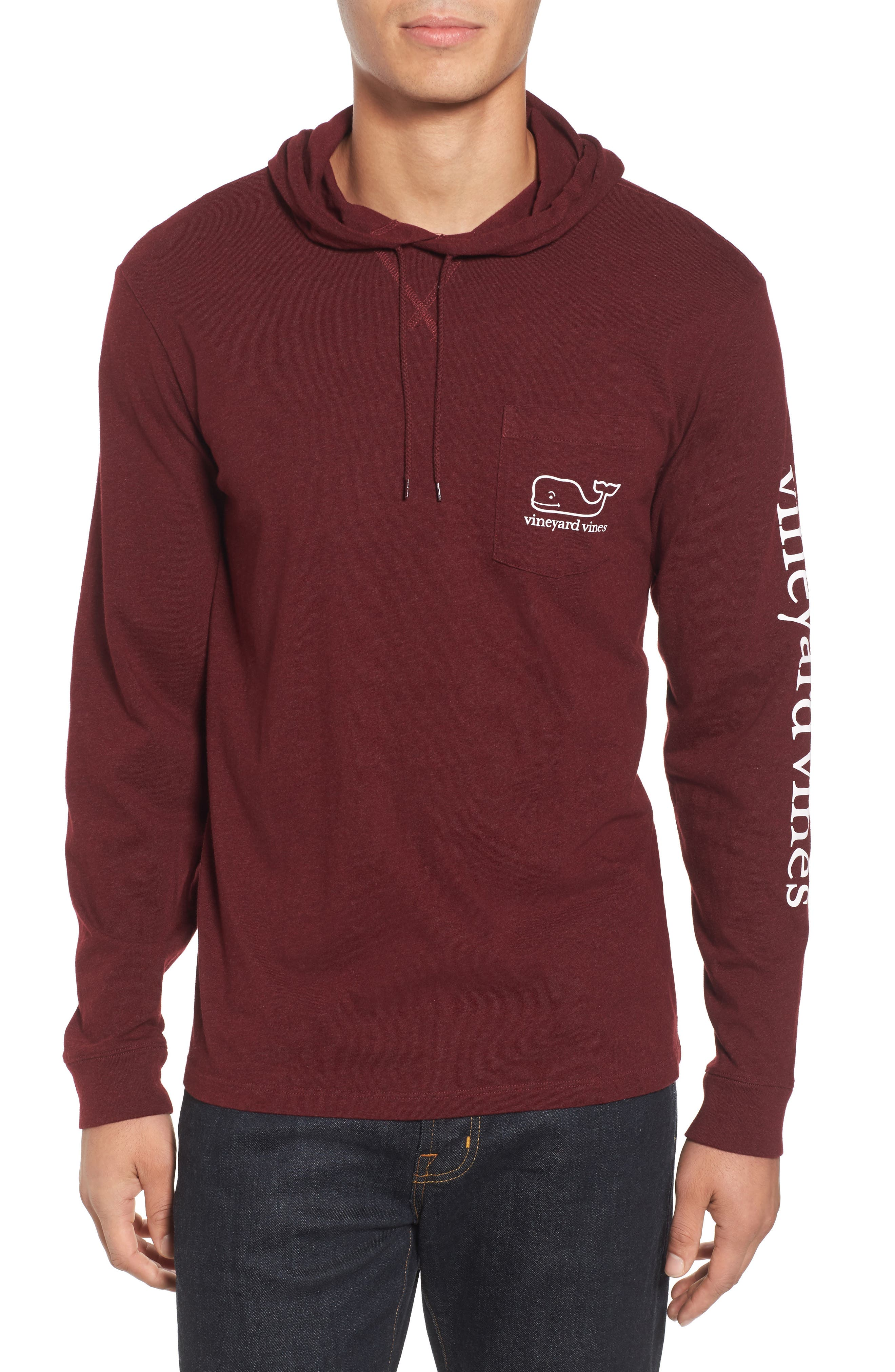 Long Sleeve Hooded T-Shirt,                         Main,                         color, Crimson