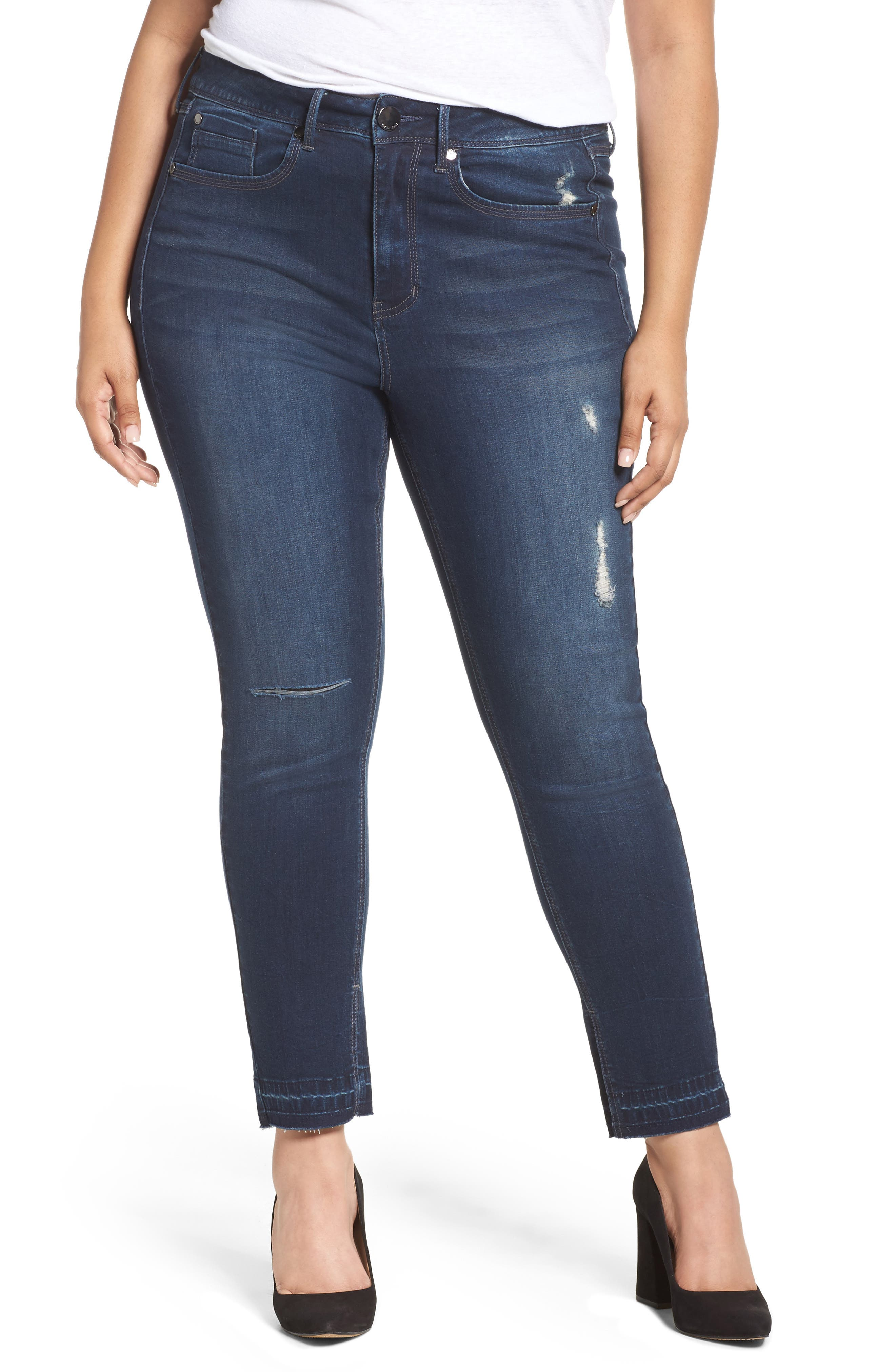Seven7 Released Hem Skinny Jeans (Plus Size)