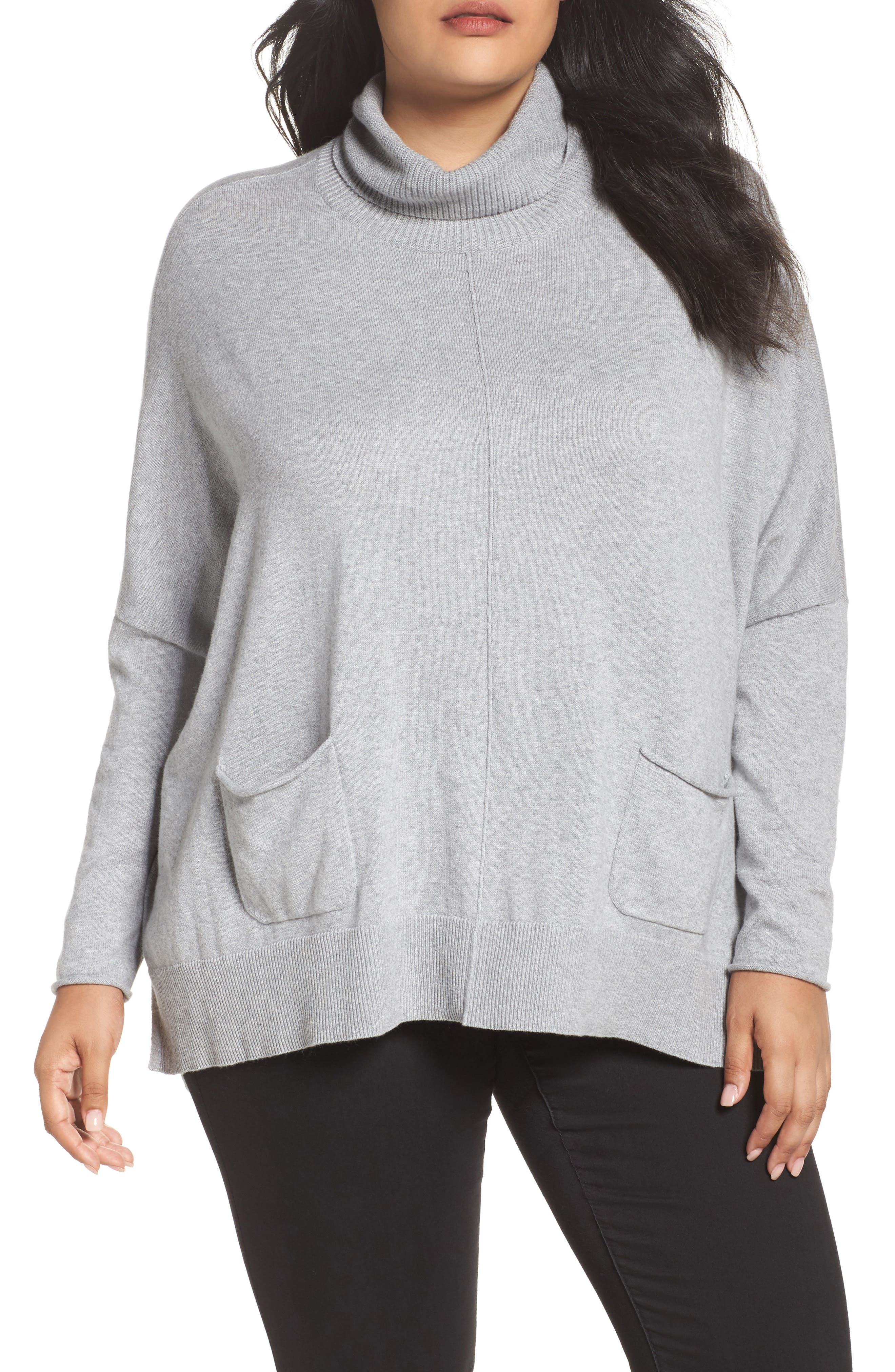 Relaxed Cotton & Cashmere Sweater,                             Main thumbnail 1, color,                             Grey Heather