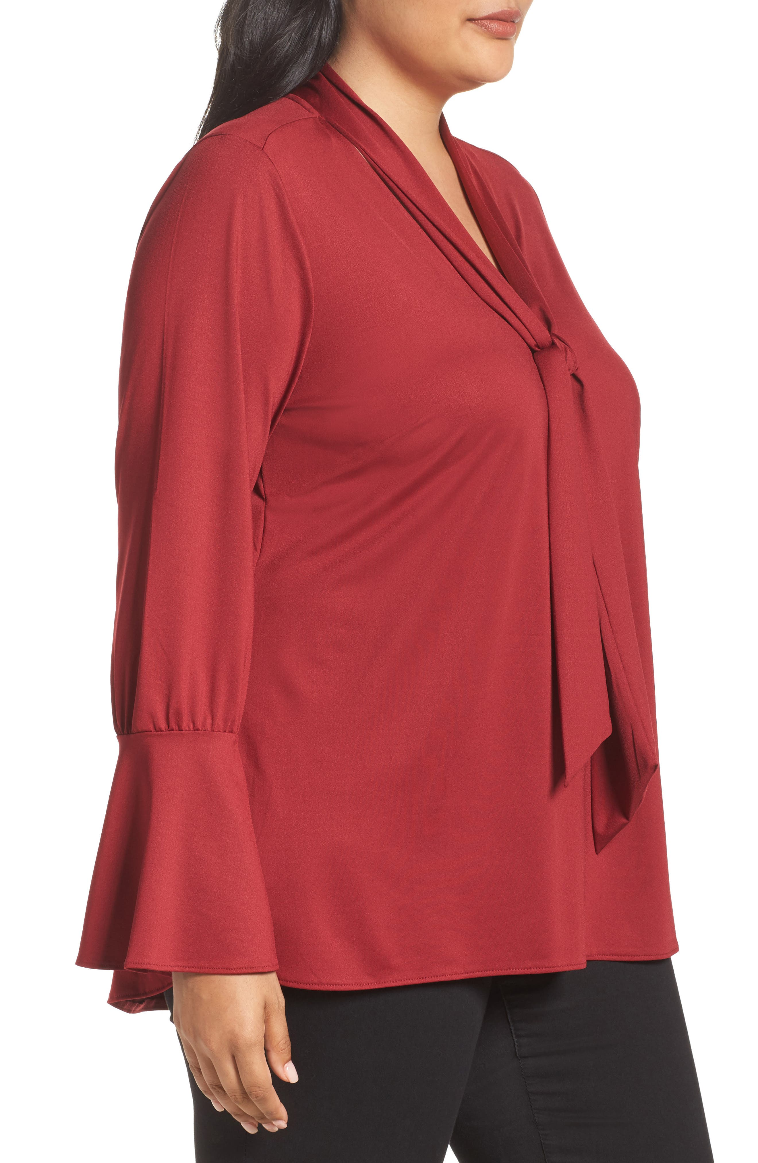Tie Neck Top,                             Alternate thumbnail 3, color,                             Rhubarb