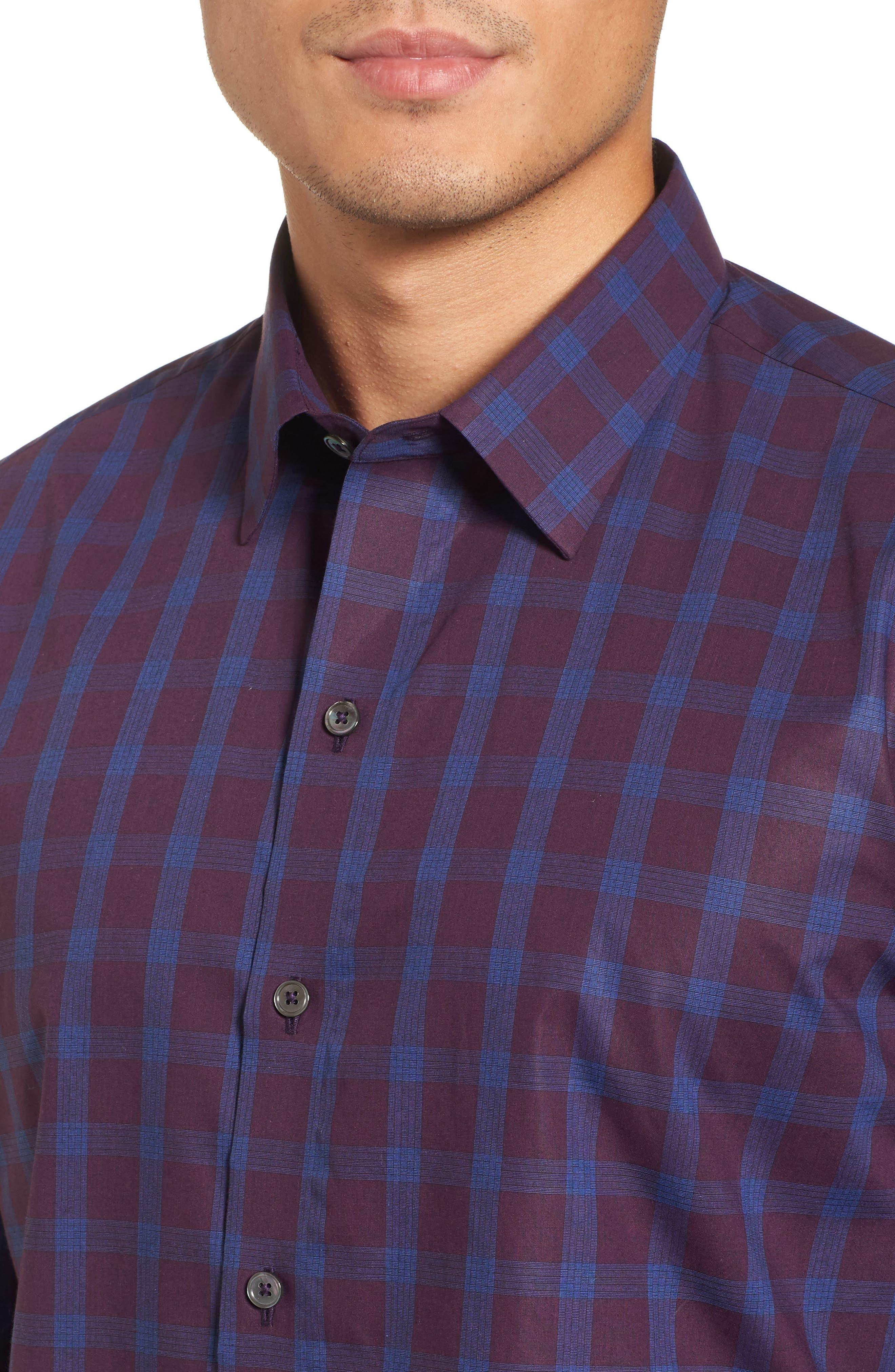 Raymond Check Sport Shirt,                             Alternate thumbnail 4, color,                             Burgundy