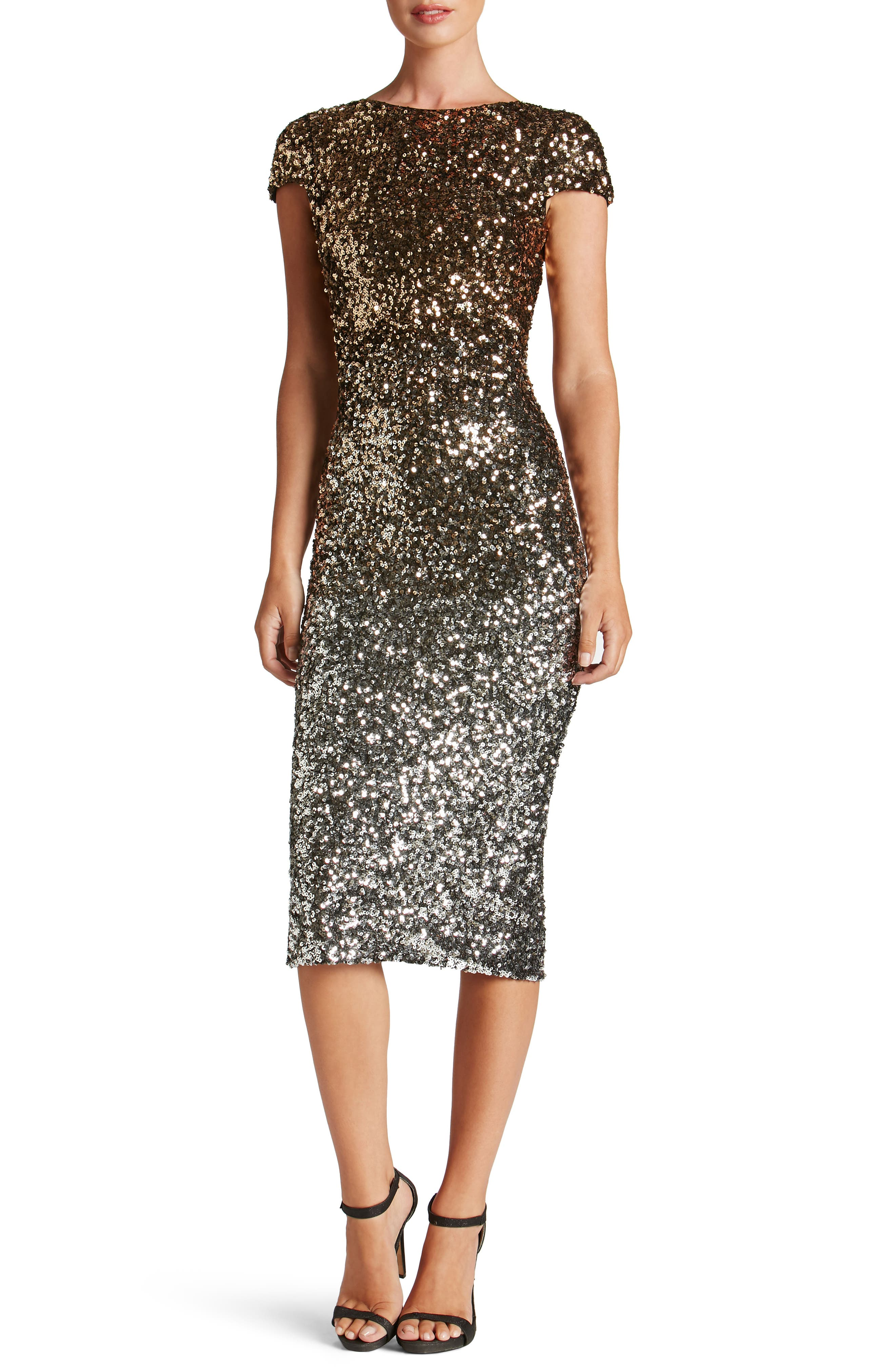 Alternate Image 1 Selected - Dress the Population Marcella Ombré Sequin Body-Con Dress