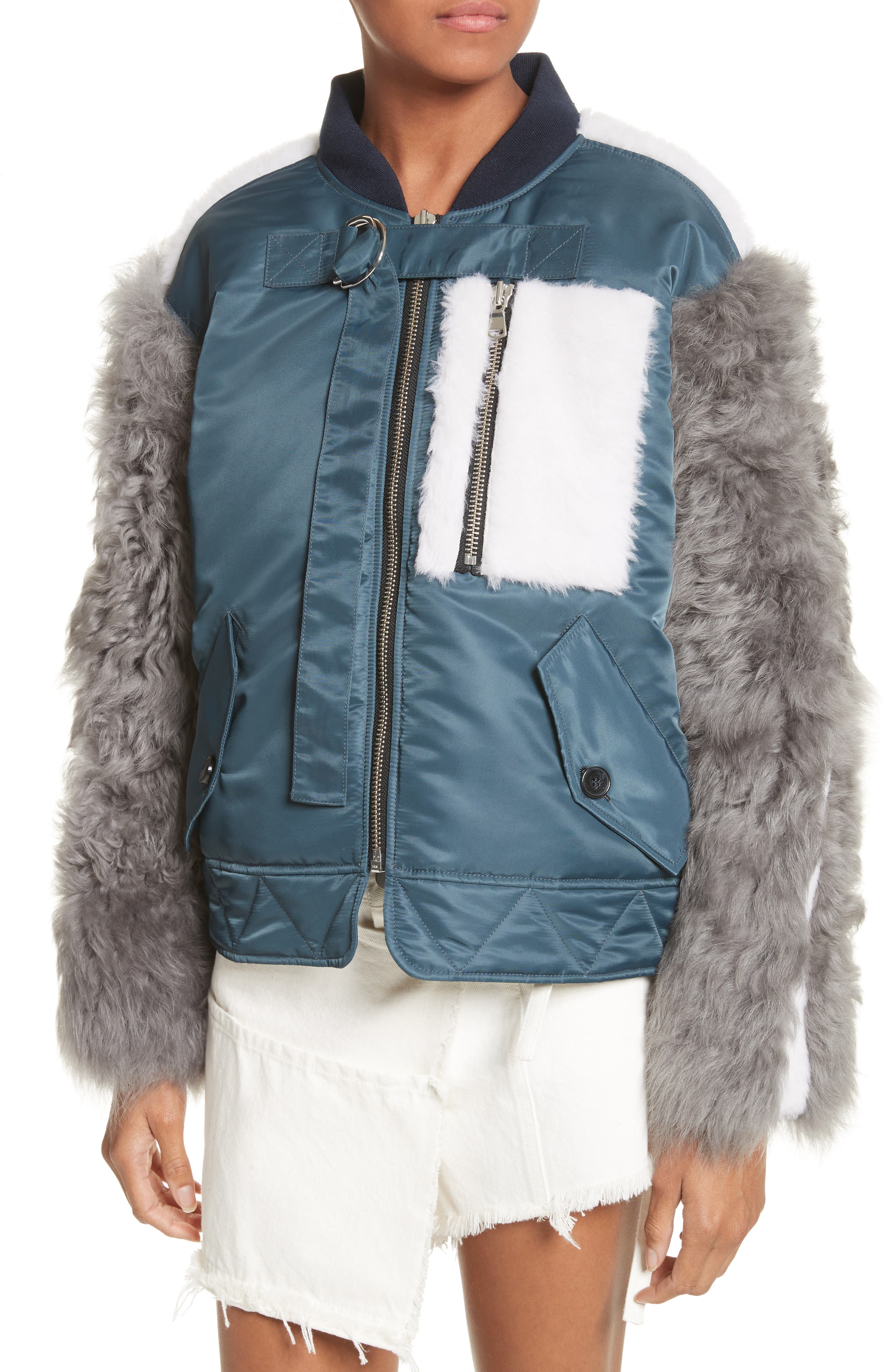 Peter Genuine Shearling Sleeve Jacket,                             Alternate thumbnail 4, color,                             Navy