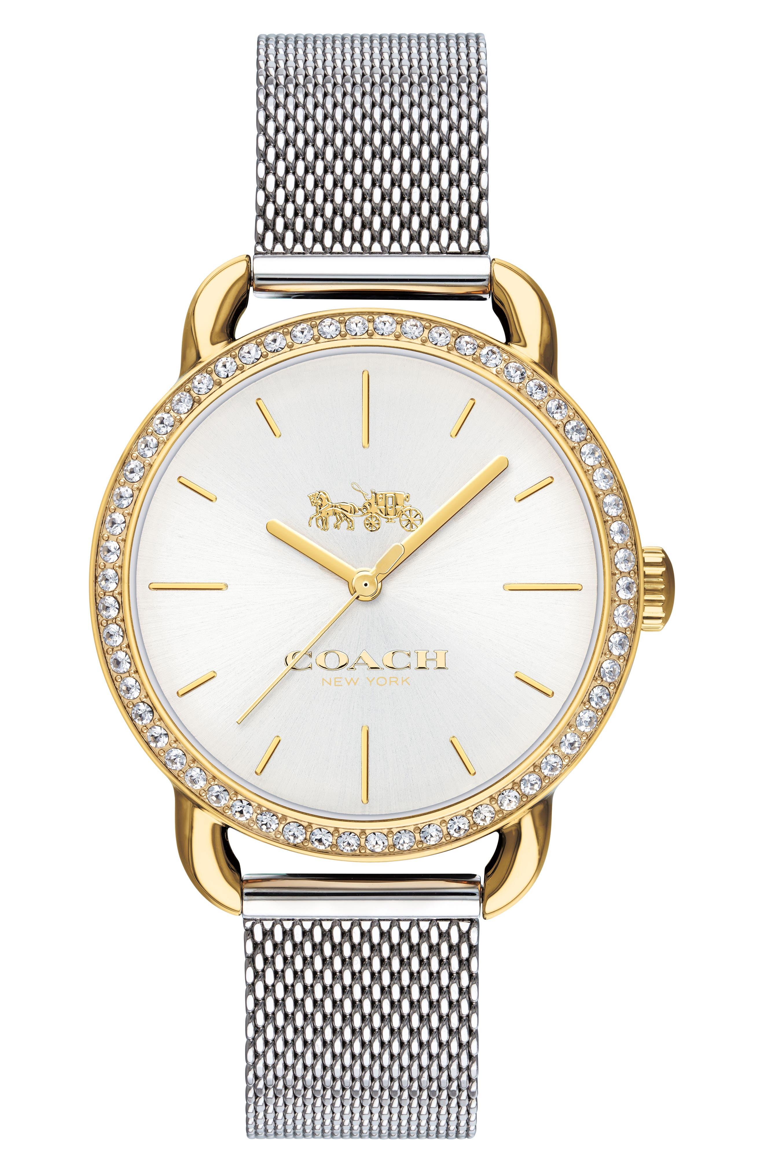 Lex Crystal Mesh Bracelet Watch, 32mm,                         Main,                         color, Silver/ Gold