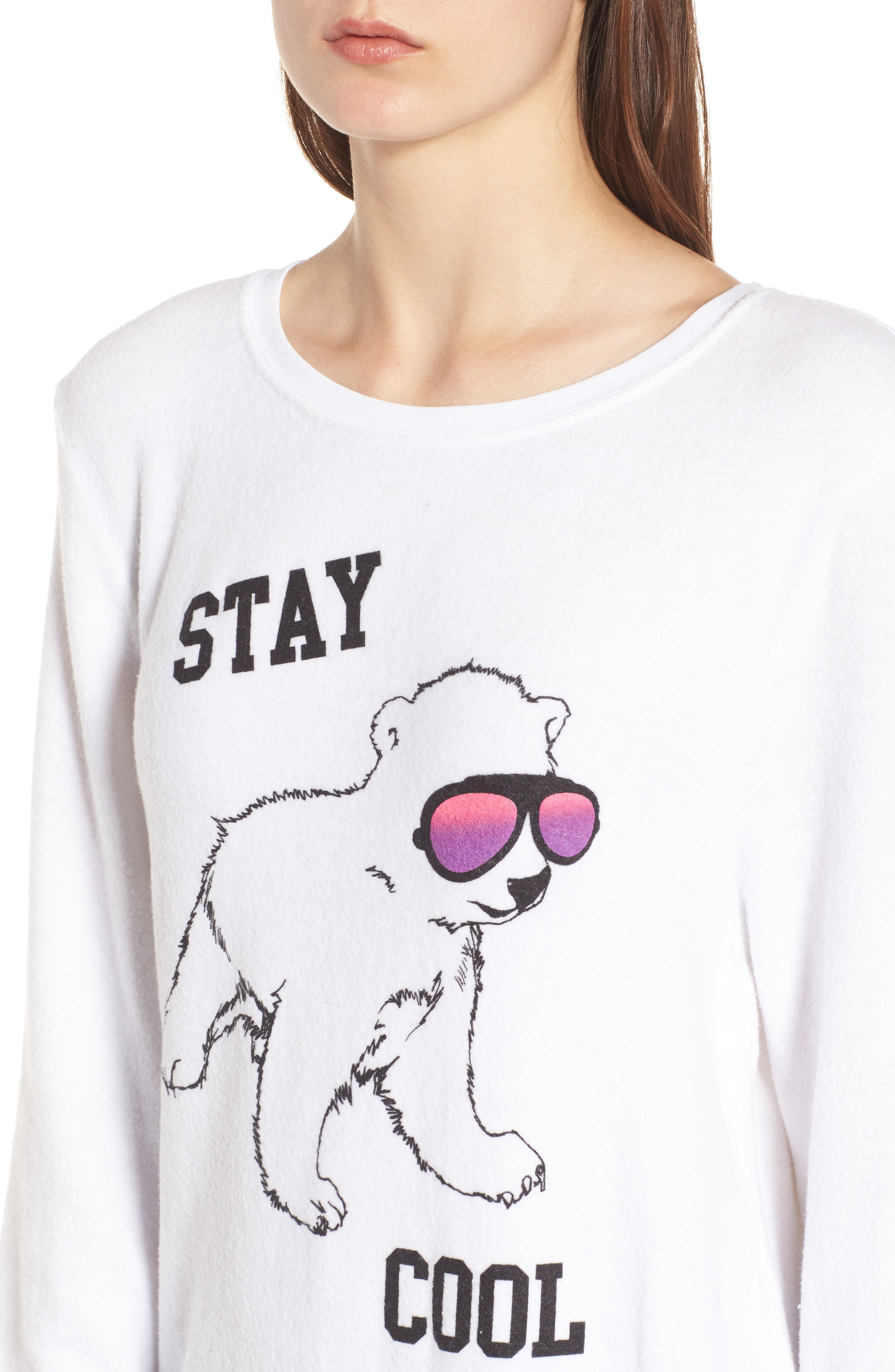 Stay Cool Polar Bear Sweatshirt,                             Alternate thumbnail 4, color,                             Clean White