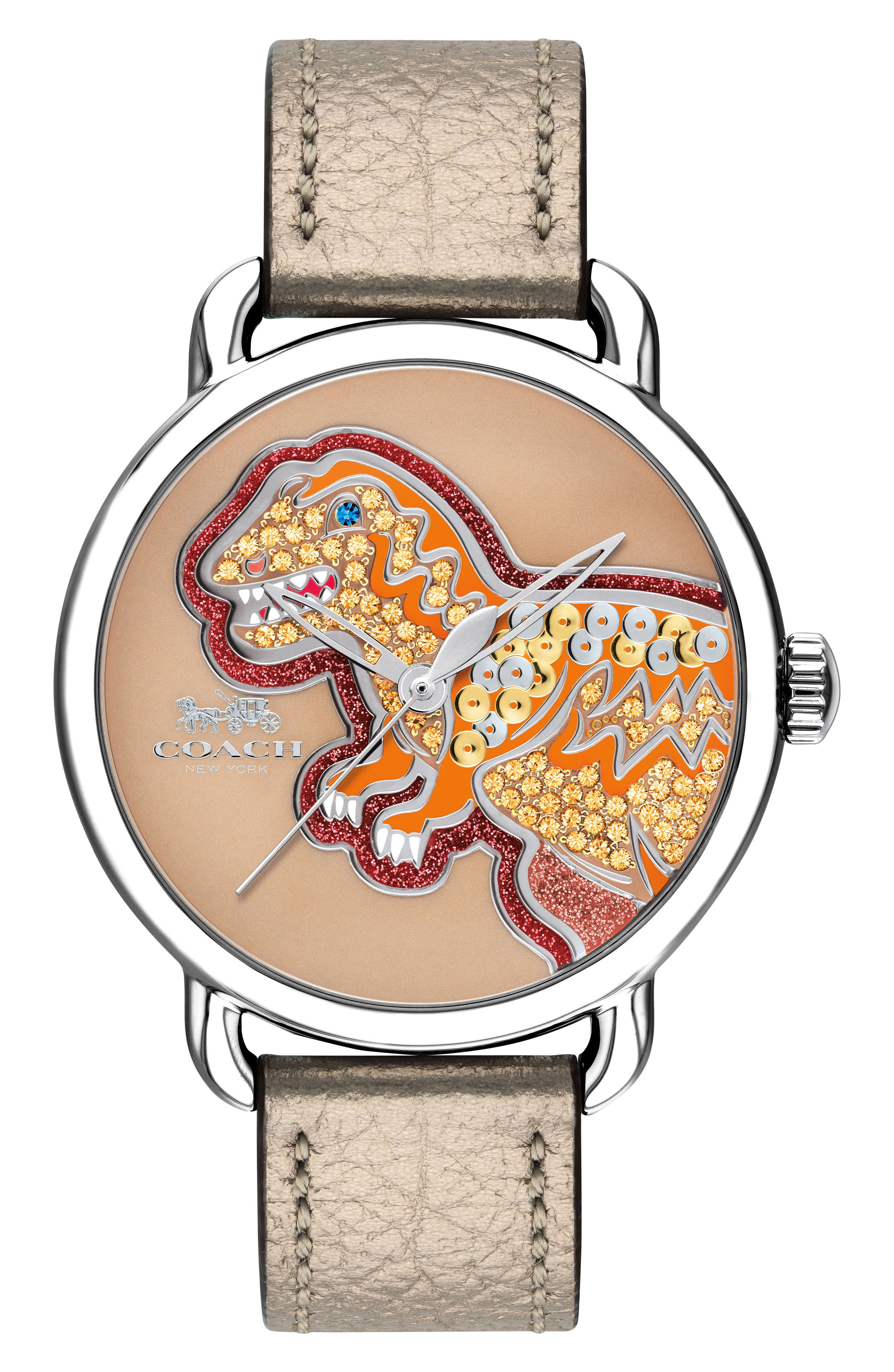 Delancey Rexy Leather Strap Watch, 36mm,                         Main,                         color, Champagne/ Multi/ Silver