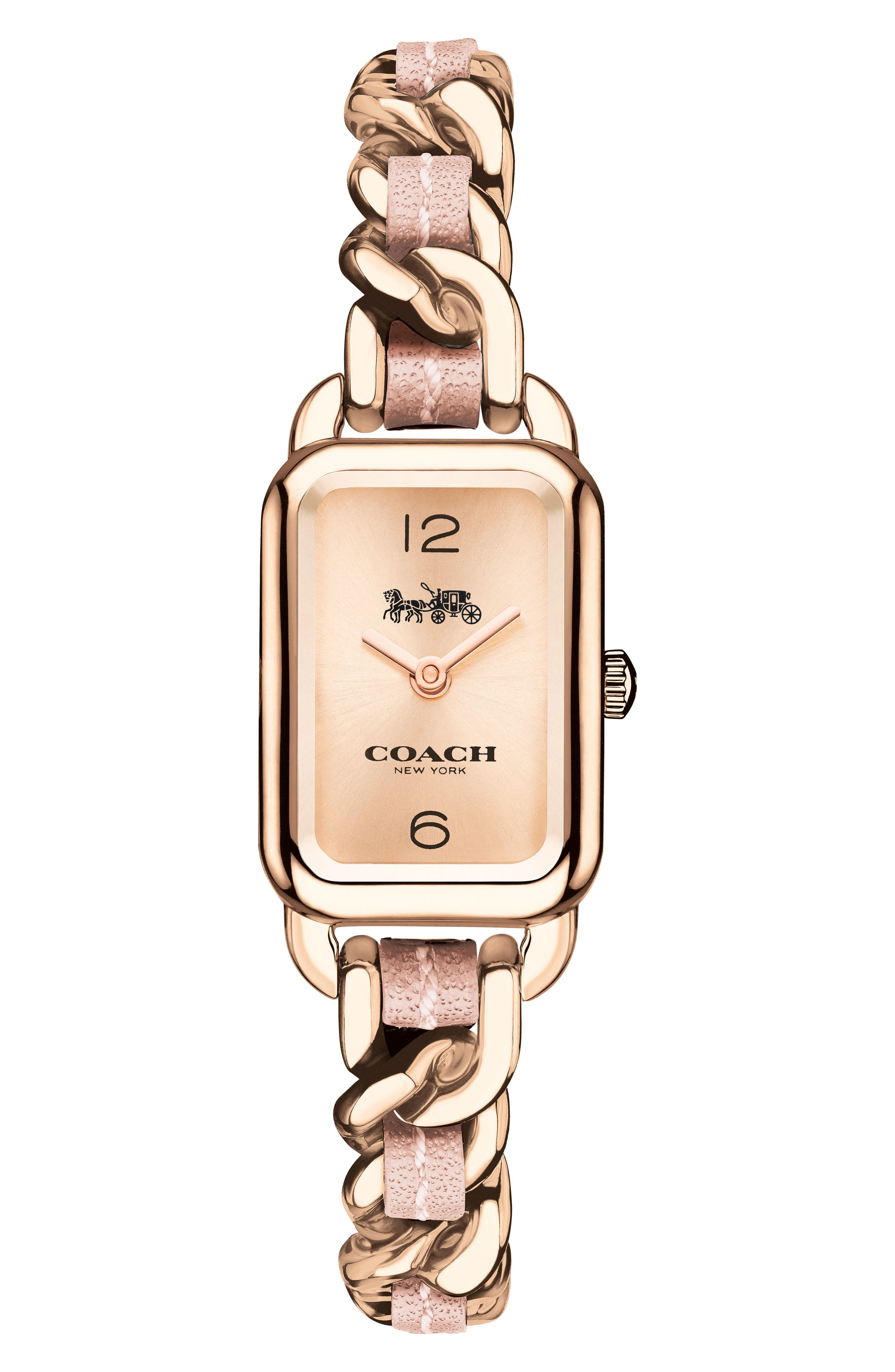 Ludlow Leather Bracelet Watch, 17mm,                             Main thumbnail 1, color,                             Rose Gold