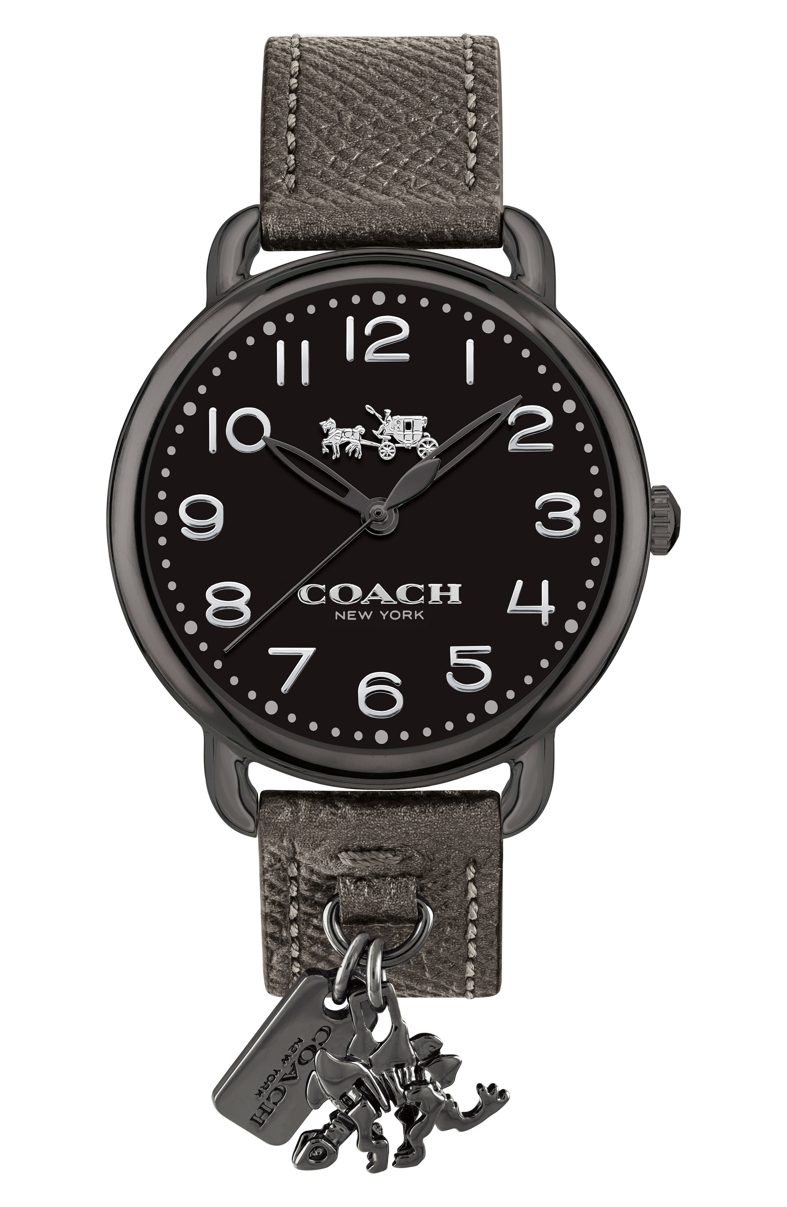 COACH Delancey Charm Detail Leather Strap Watch, 36mm