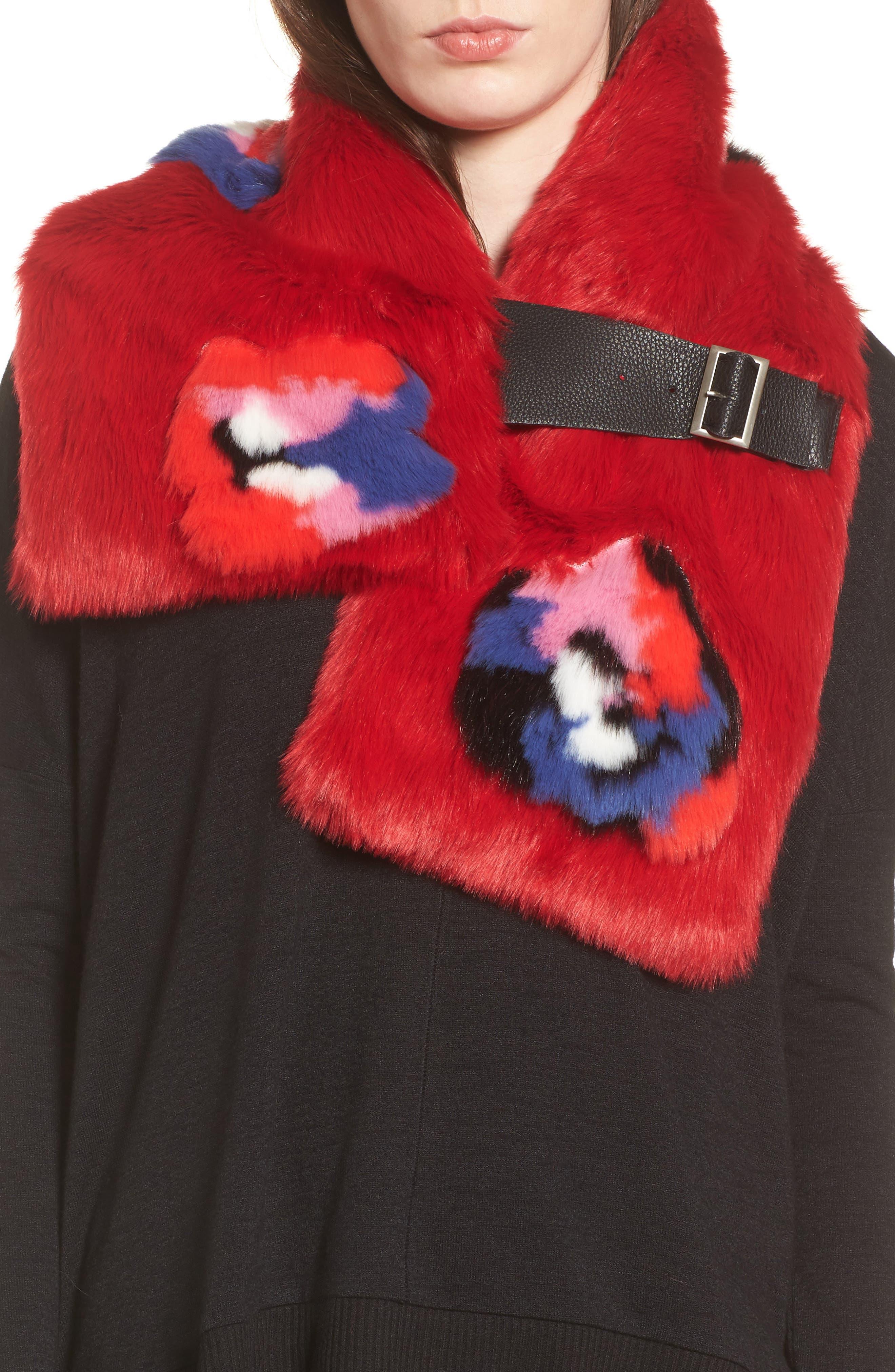 Buckled Faux Fur Scarf,                             Main thumbnail 1, color,                             Floral Fur
