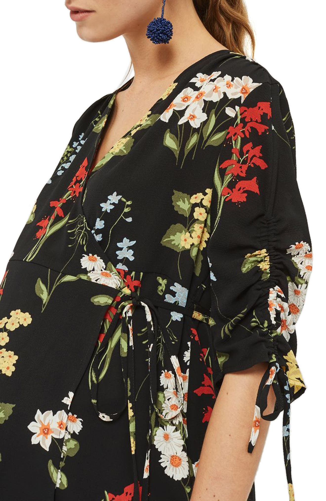 Floral Ruched Sleeve Wrap Maternity Blouse,                             Alternate thumbnail 3, color,                             Navy Blue Multi