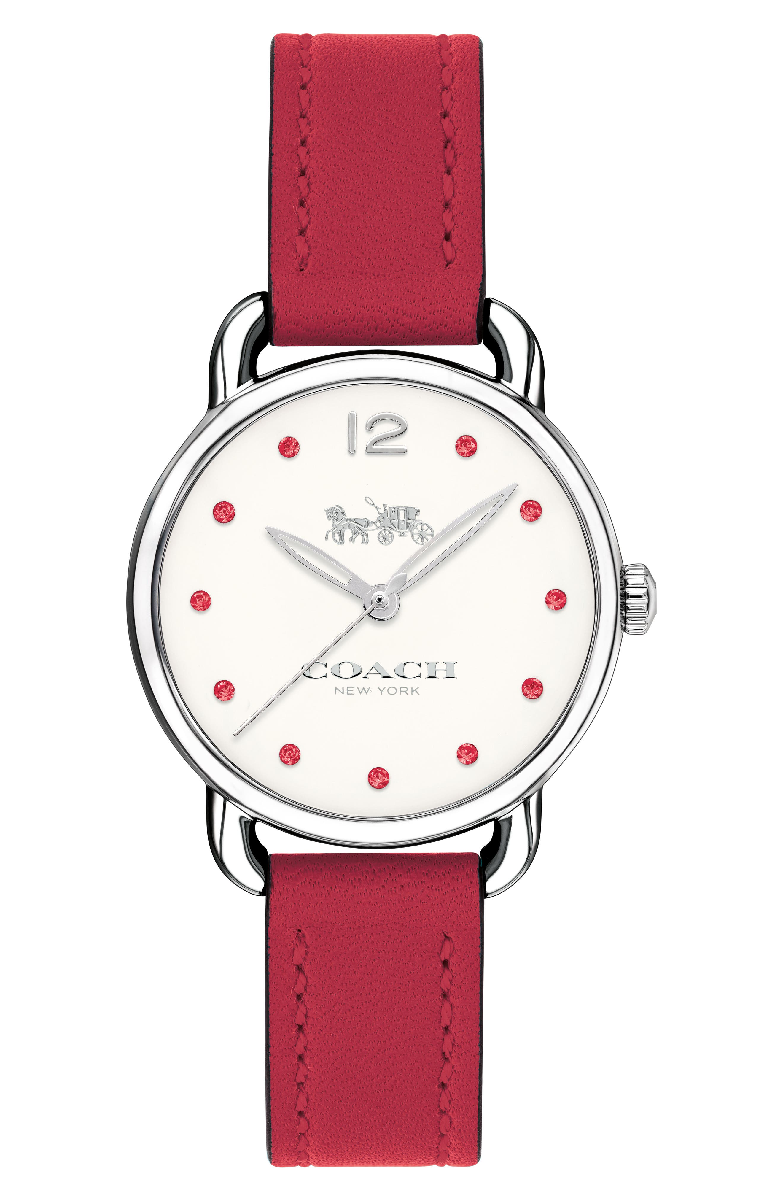 Delancey Crystal Accent Leather Strap Watch, 28mm,                         Main,                         color, Red/ White/ Silver