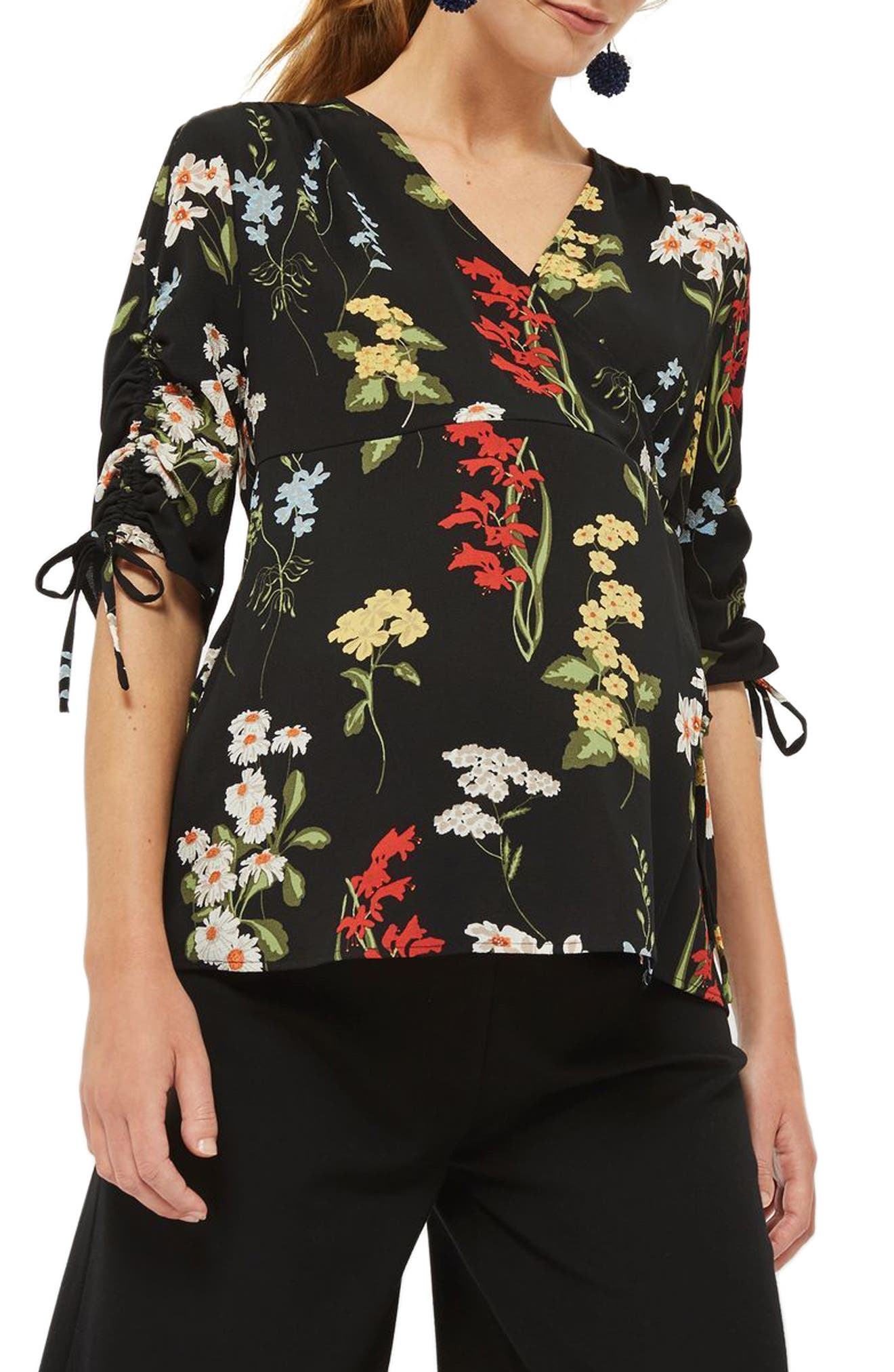 Floral Ruched Sleeve Wrap Maternity Blouse,                         Main,                         color, Navy Blue Multi