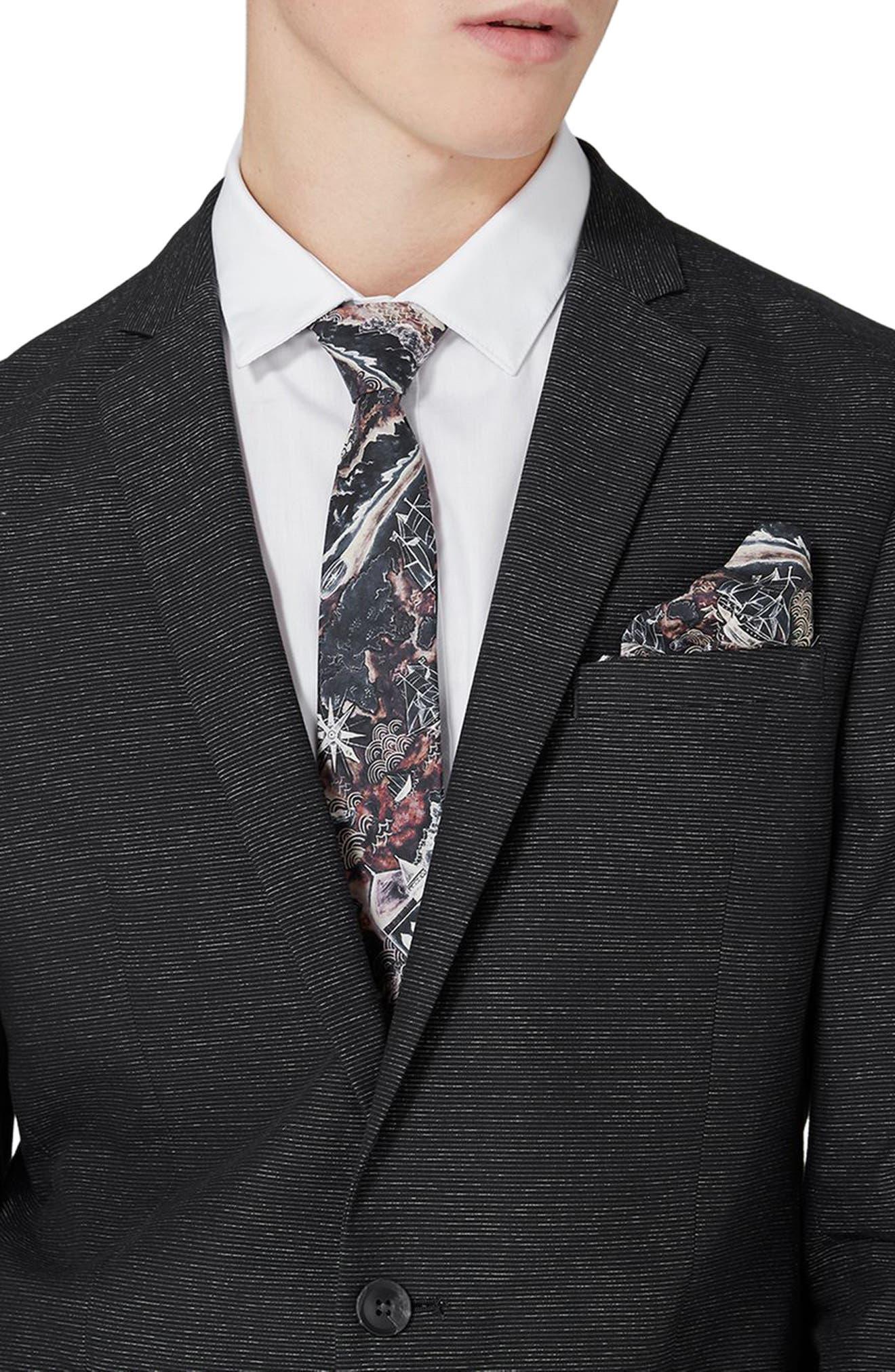 Alternate Image 4  - Topman Skinny Fit Stripe Suit Jacket