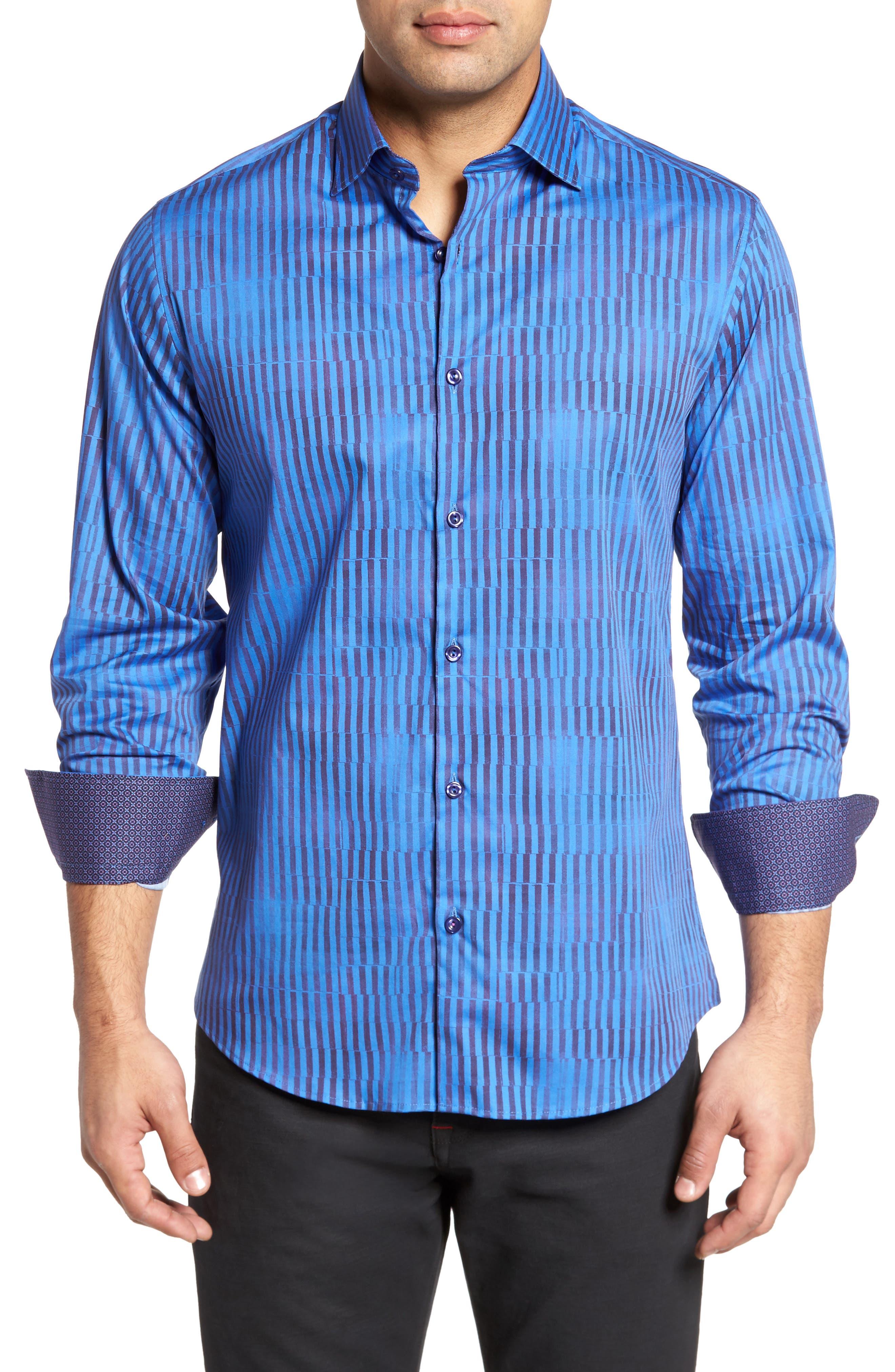 Bold FX Stripe Print Sport Shirt,                         Main,                         color, Electric Blue
