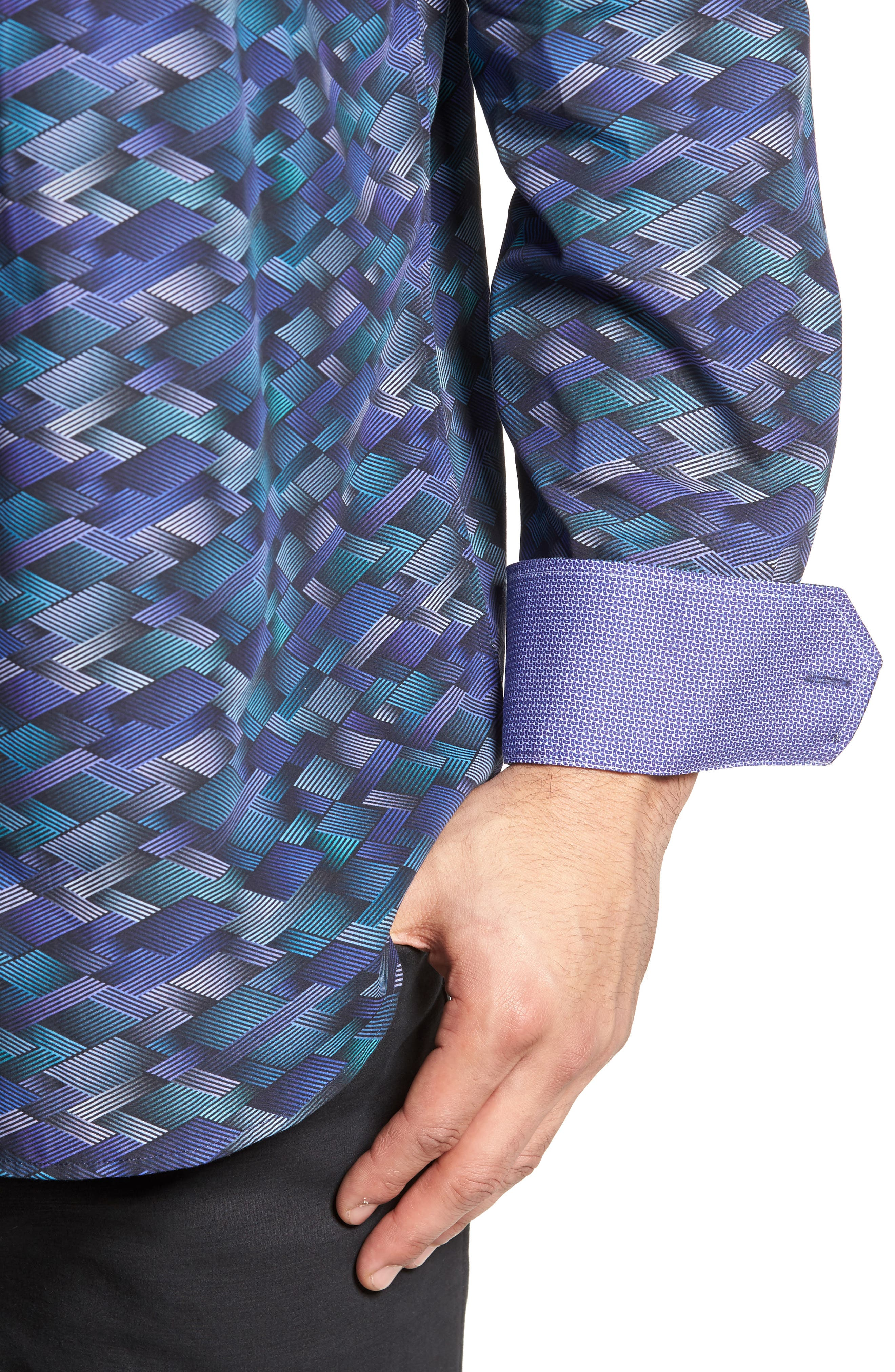 Classic Fit Geo Print Sport Shirt,                             Alternate thumbnail 4, color,                             Orchid