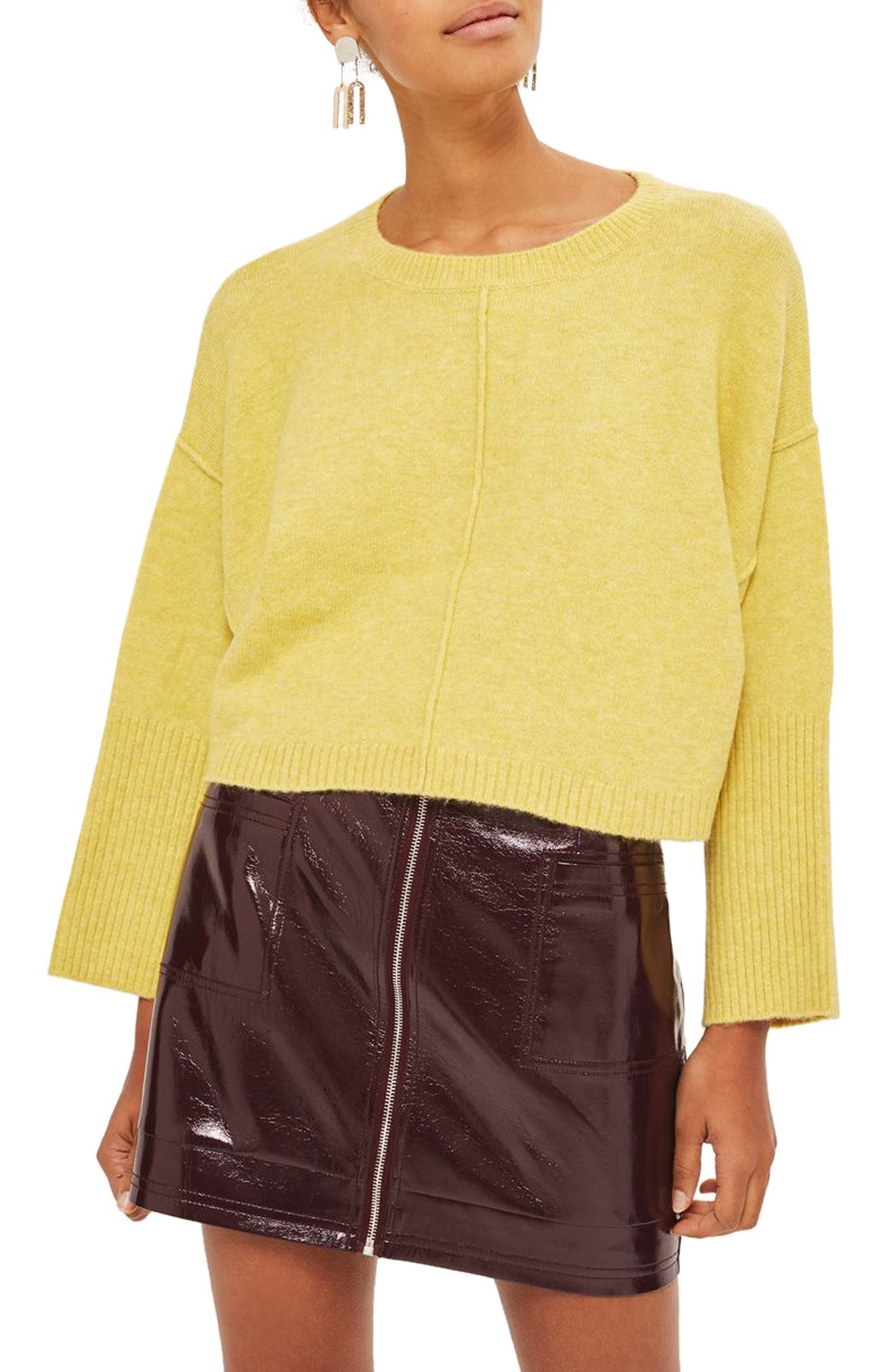 Wide Sleeve Crop Sweater,                         Main,                         color, Yellow