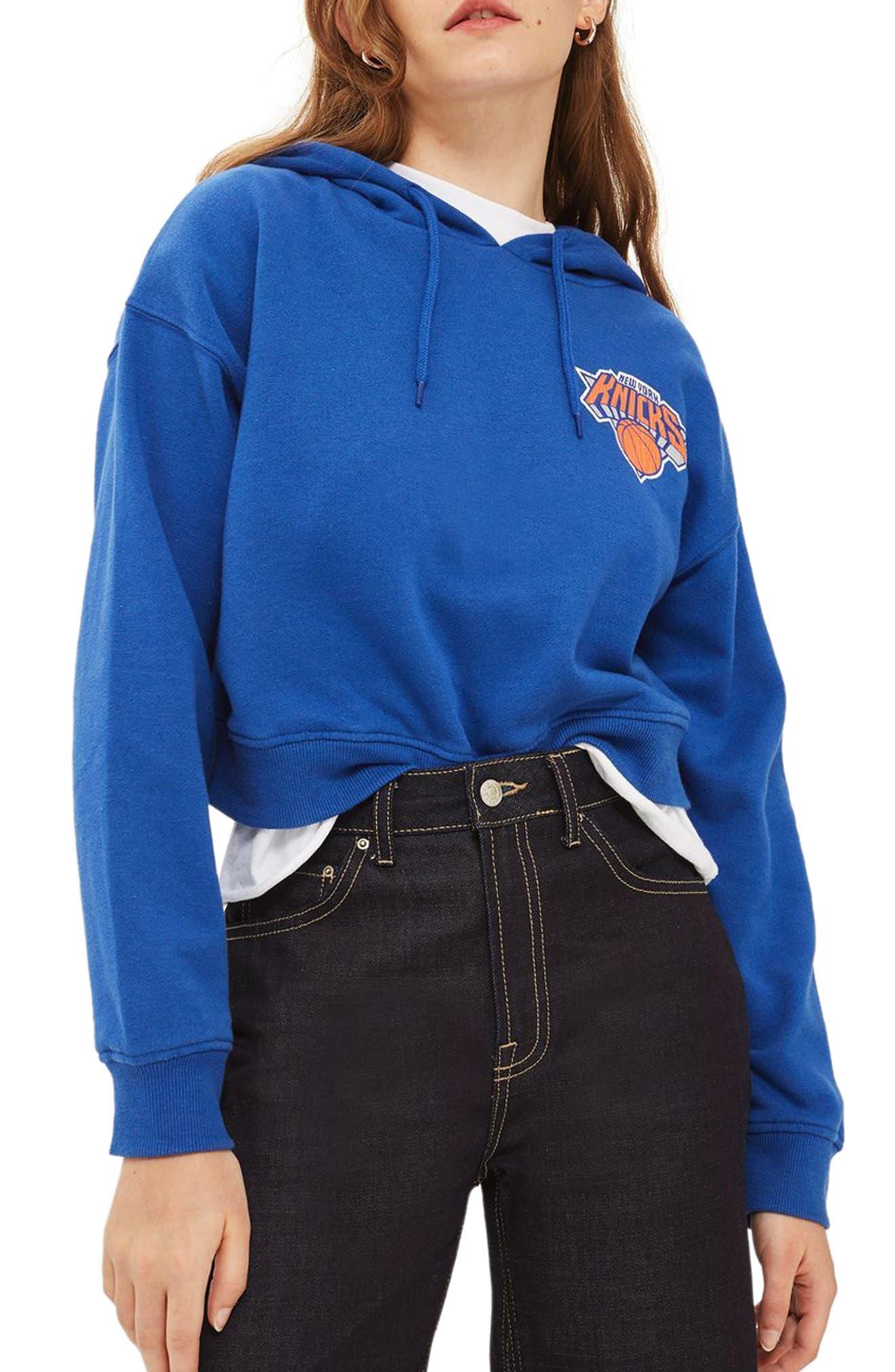 Topshop x UNK NY Knicks Crop Hoodie