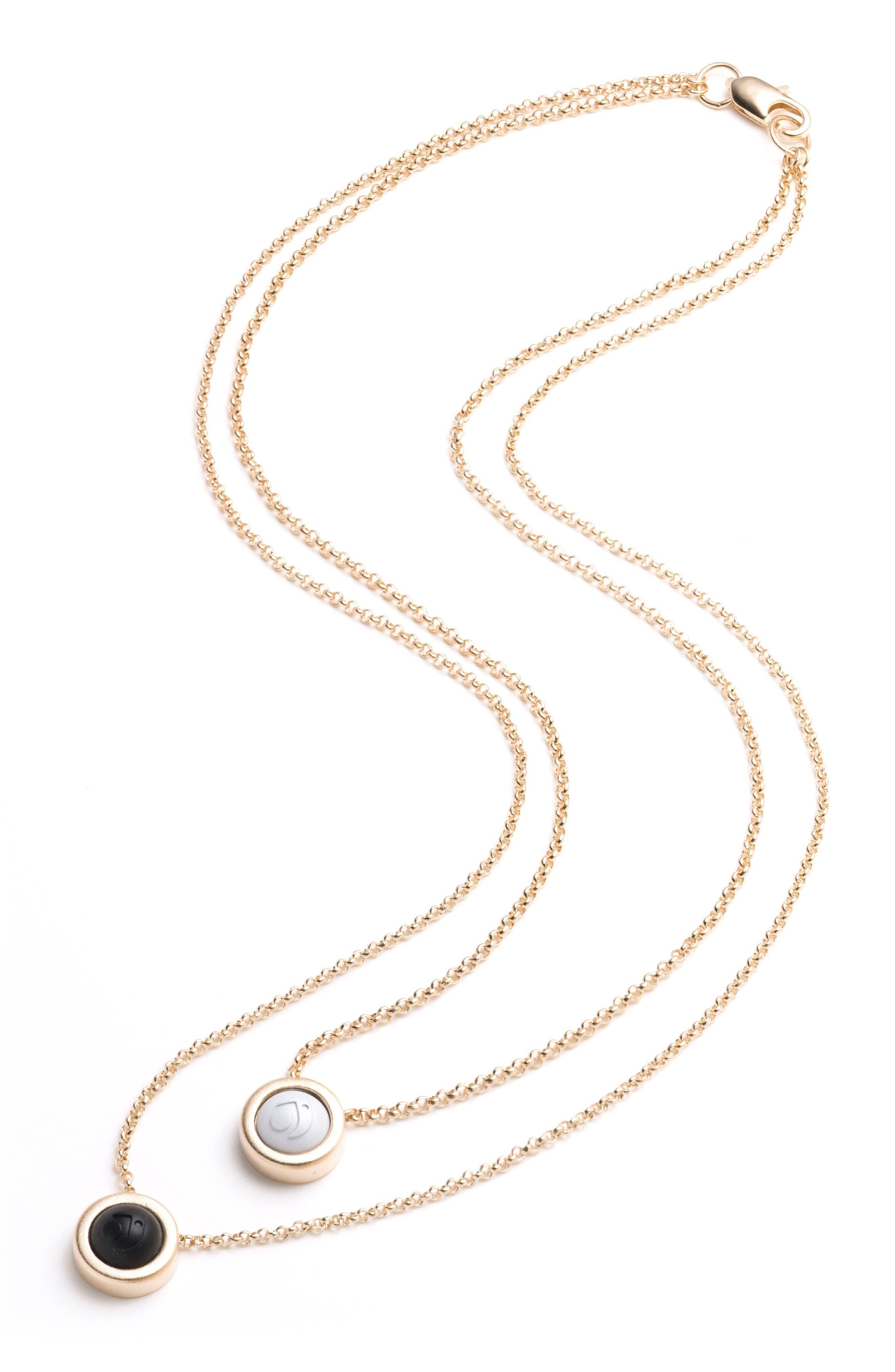 Double Fine Chain Pendant Necklace,                             Alternate thumbnail 3, color,                             Gold