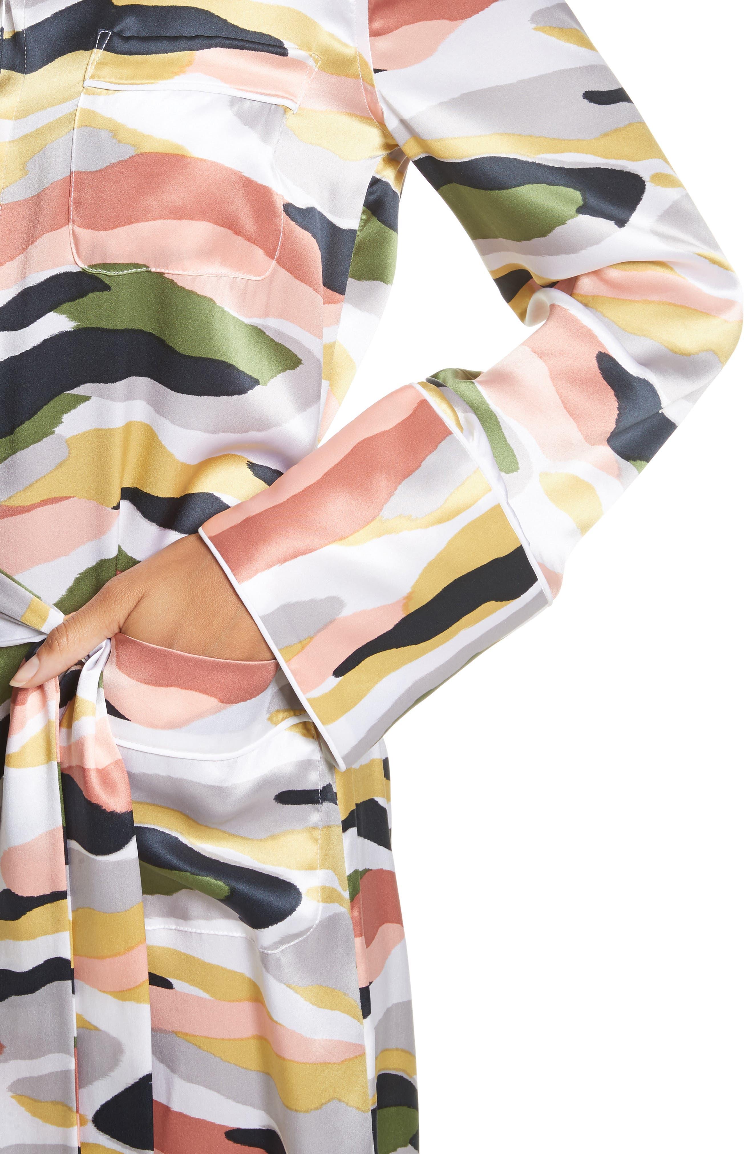 Britten Tie-Waist Silk Dress,                             Alternate thumbnail 4, color,                             Bright White Multi