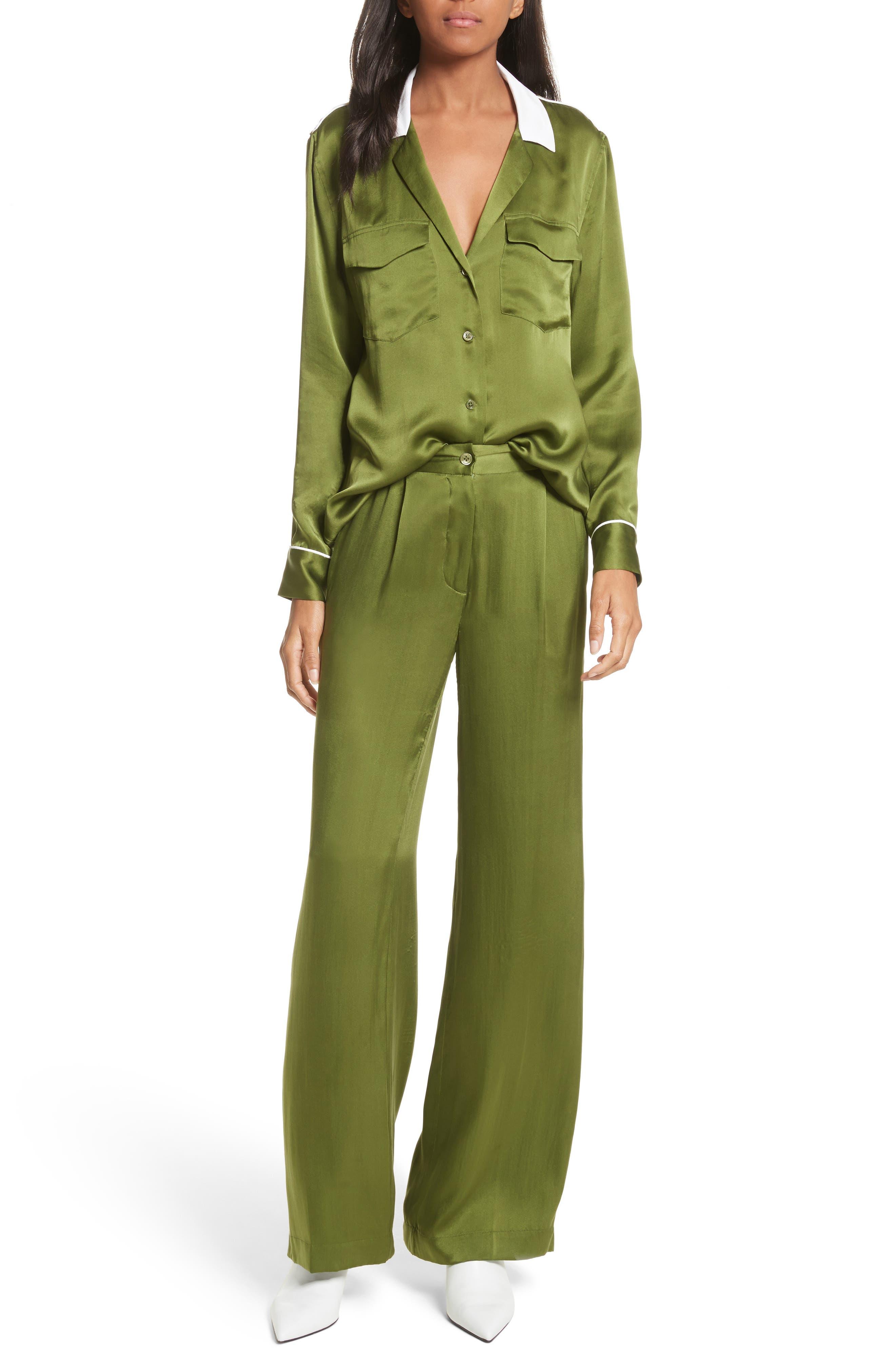 Arwen Wide Leg Silk Pants,                             Alternate thumbnail 7, color,                             Combat Green
