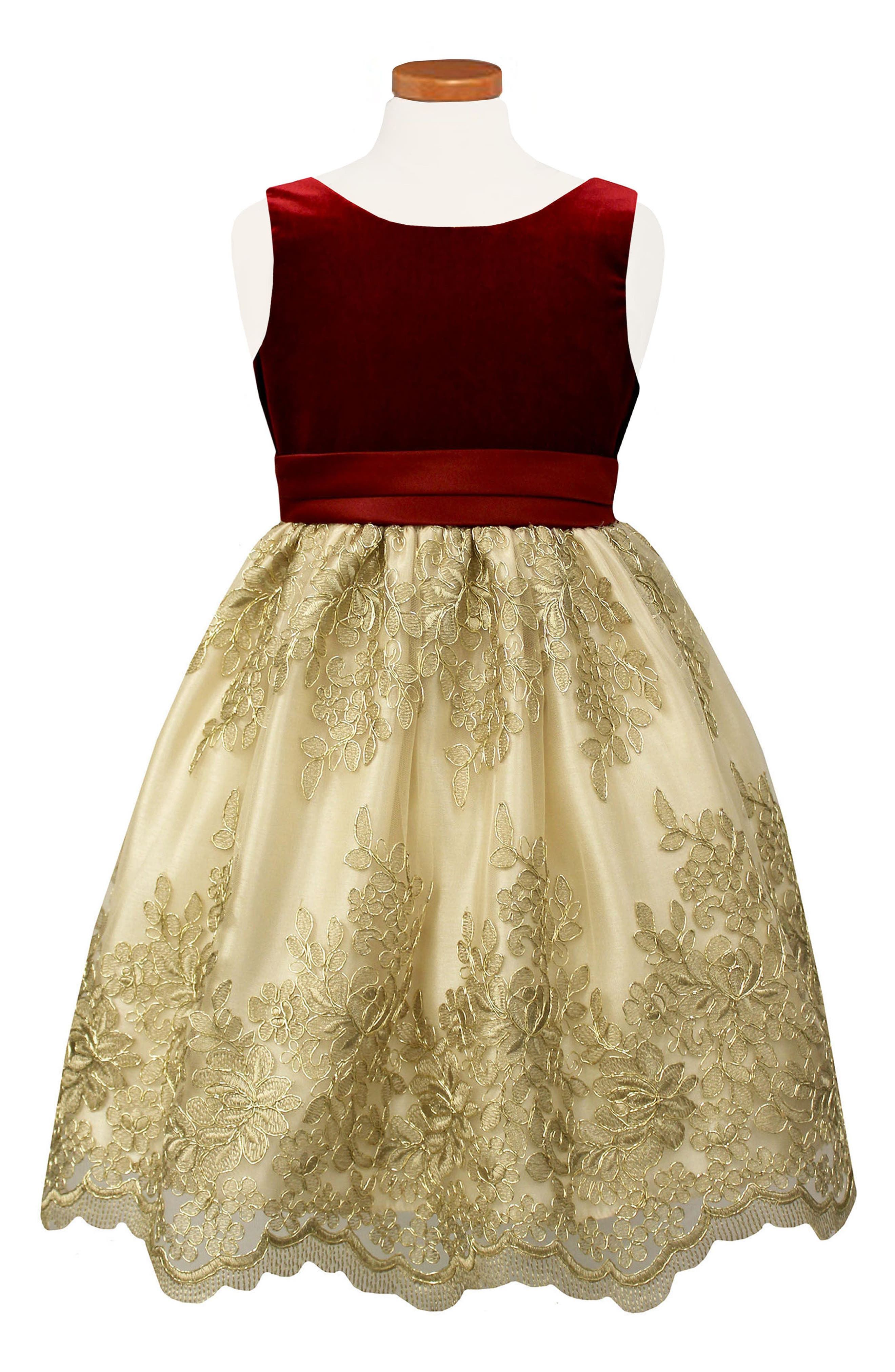 Main Image - Sorbet Floral Embroidered Party Dress (Big Girls)