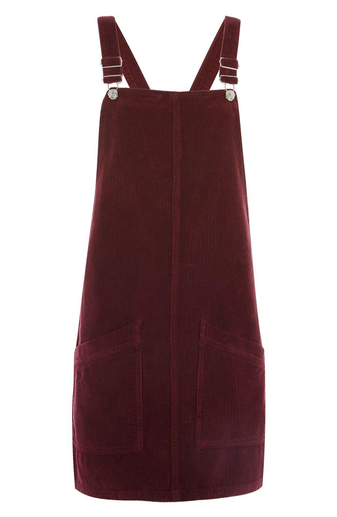 Corduroy Pinafore Dress,                             Alternate thumbnail 4, color,                             Burgundy