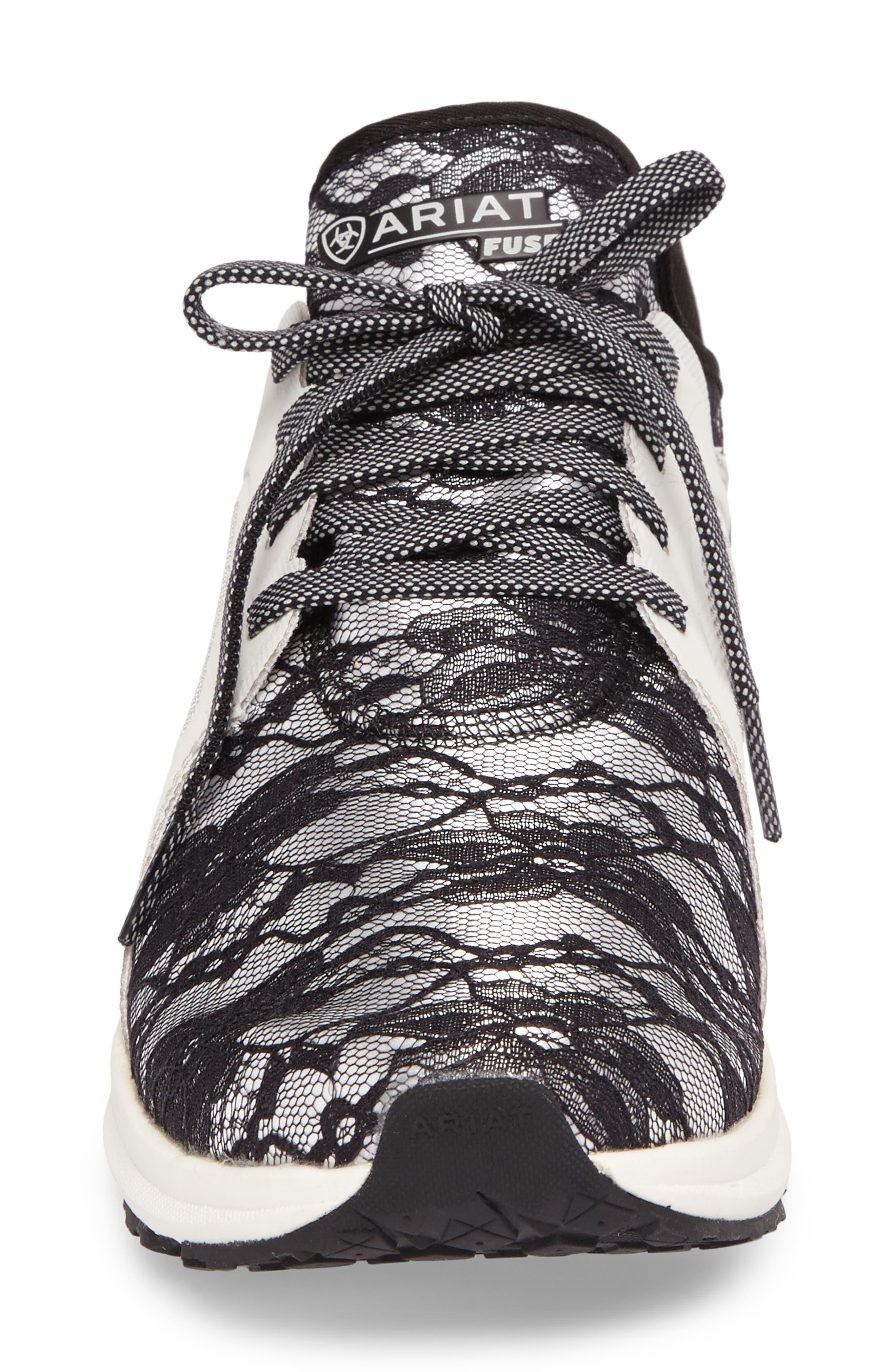 Fuse Print Sneaker,                             Alternate thumbnail 4, color,                             Black Lace