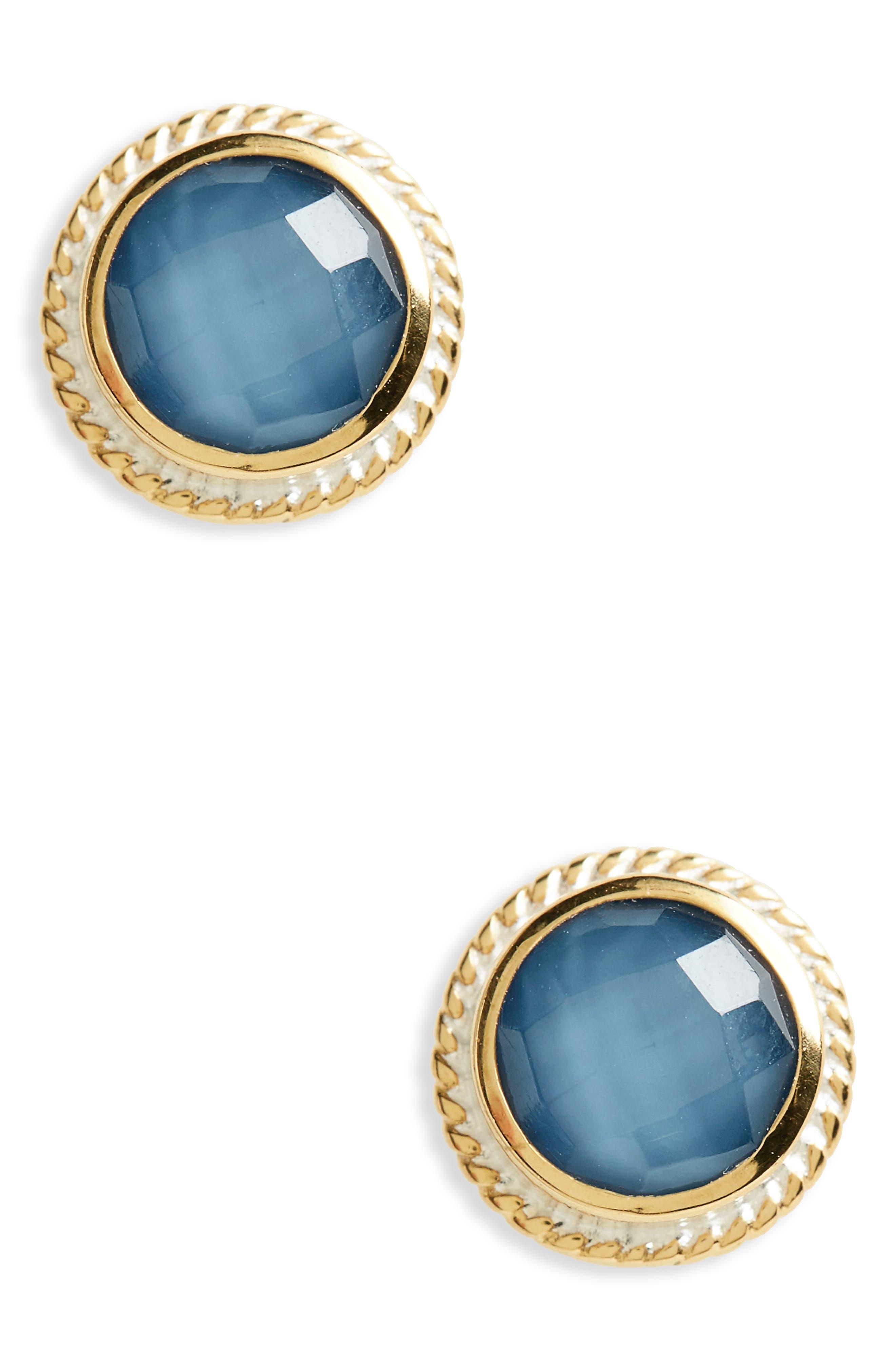 Stone Stud Earrings,                             Main thumbnail 1, color,                             Gold/ Blue Quartz