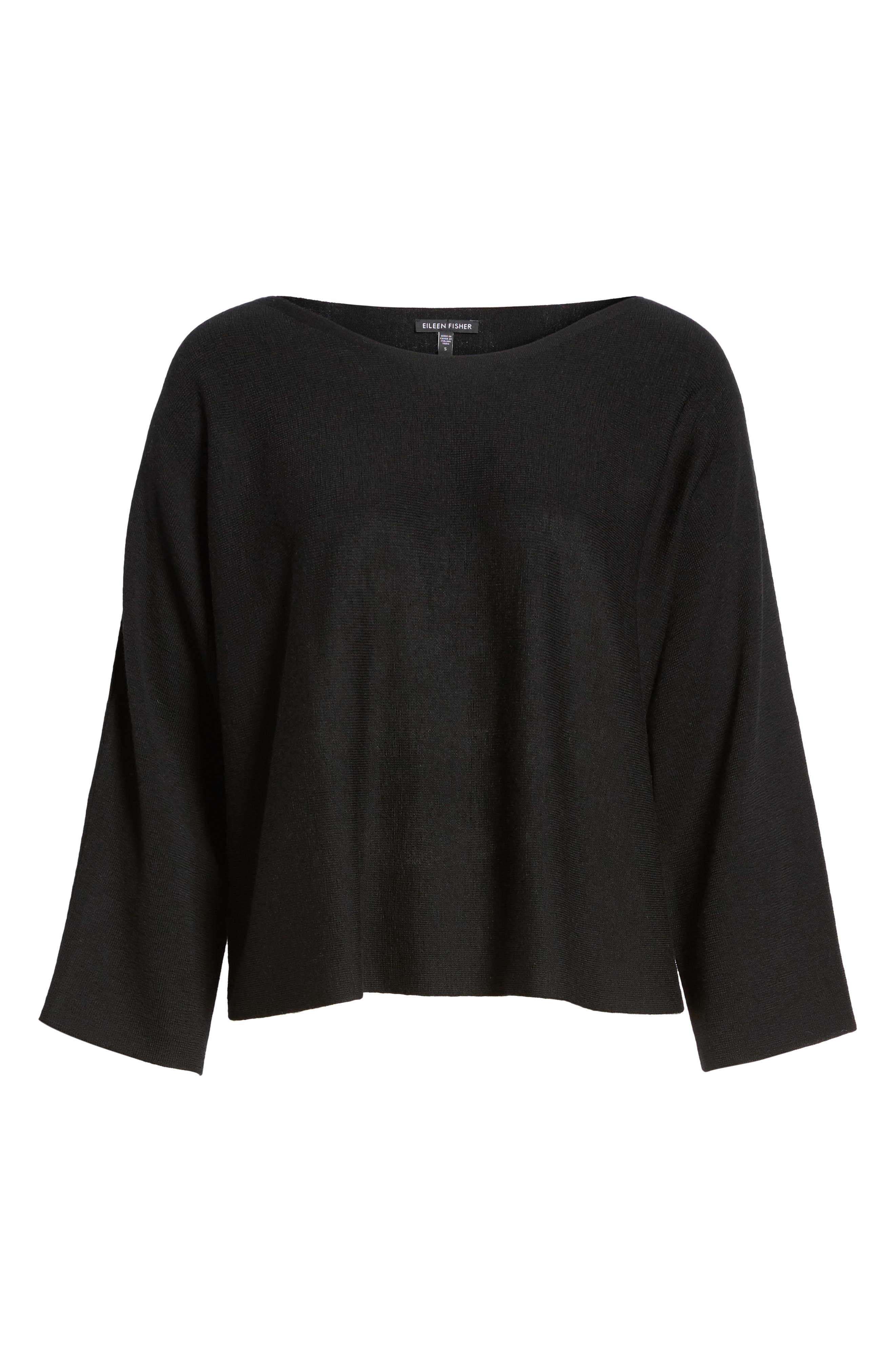 Crop Merino Wool Sweater,                             Alternate thumbnail 6, color,                             Black