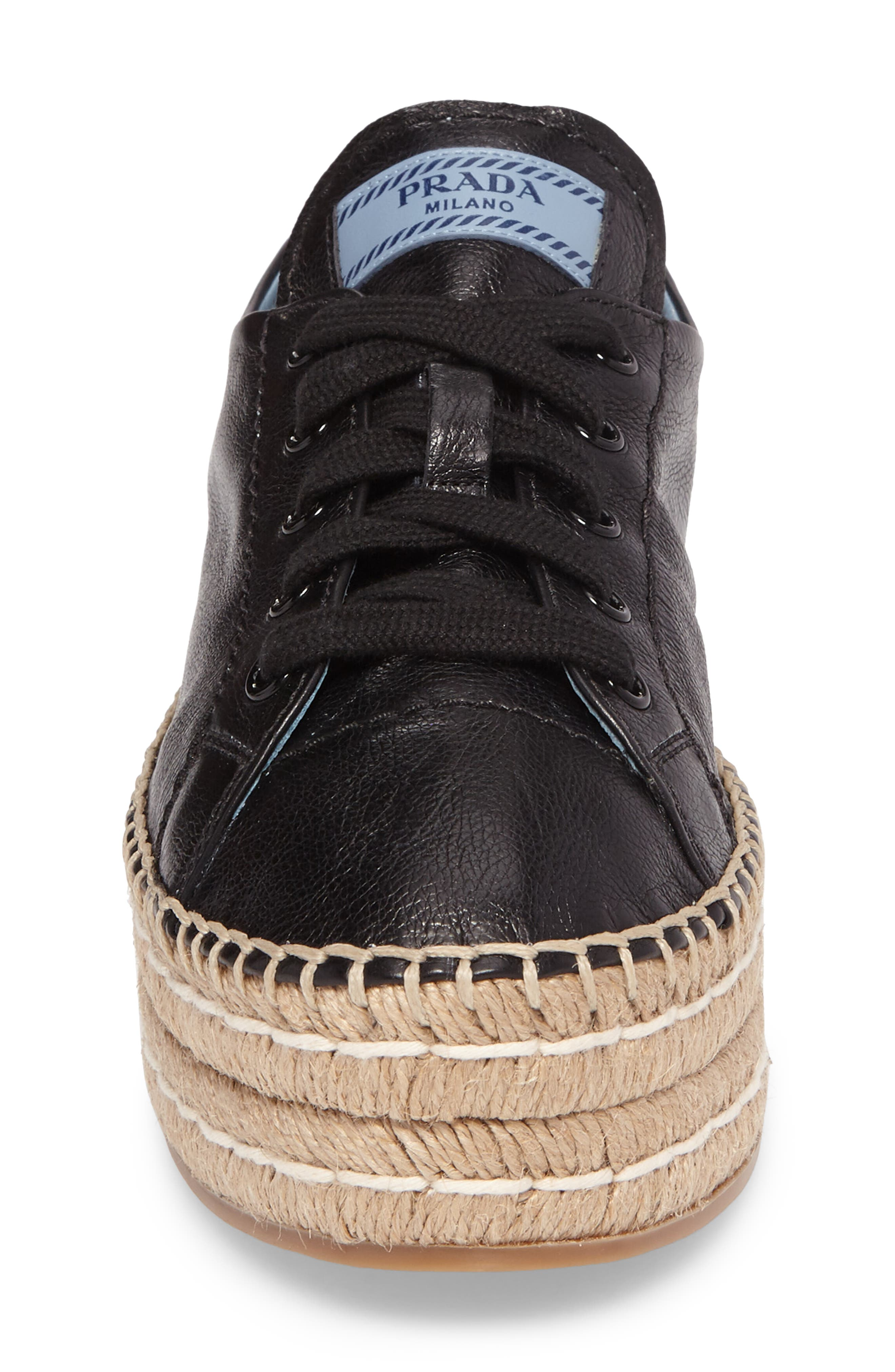 Flatform Espadrille Sneaker,                             Alternate thumbnail 4, color,                             Black