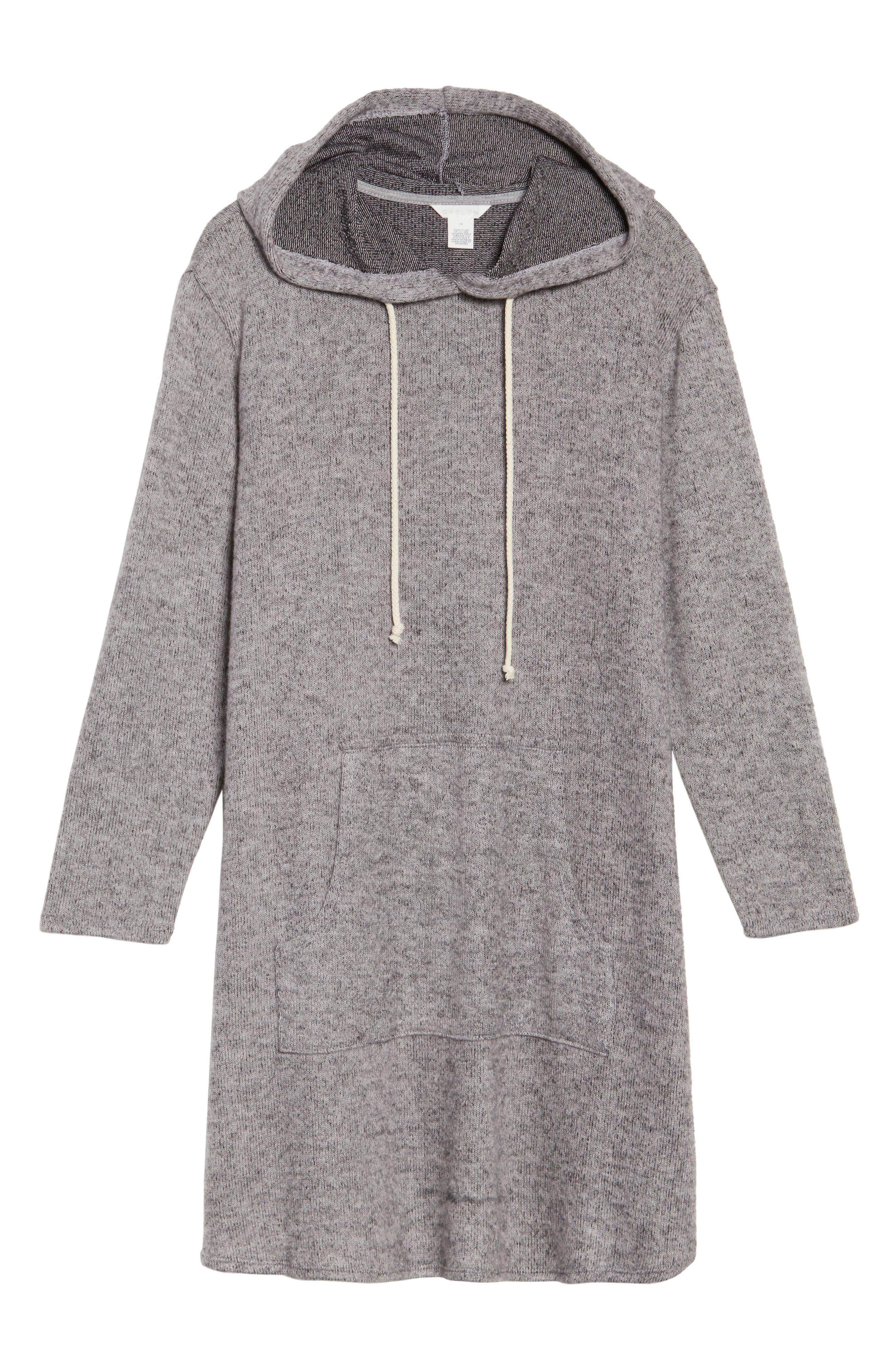 Hooded Knit Tunic,                             Alternate thumbnail 6, color,                             Light Grey