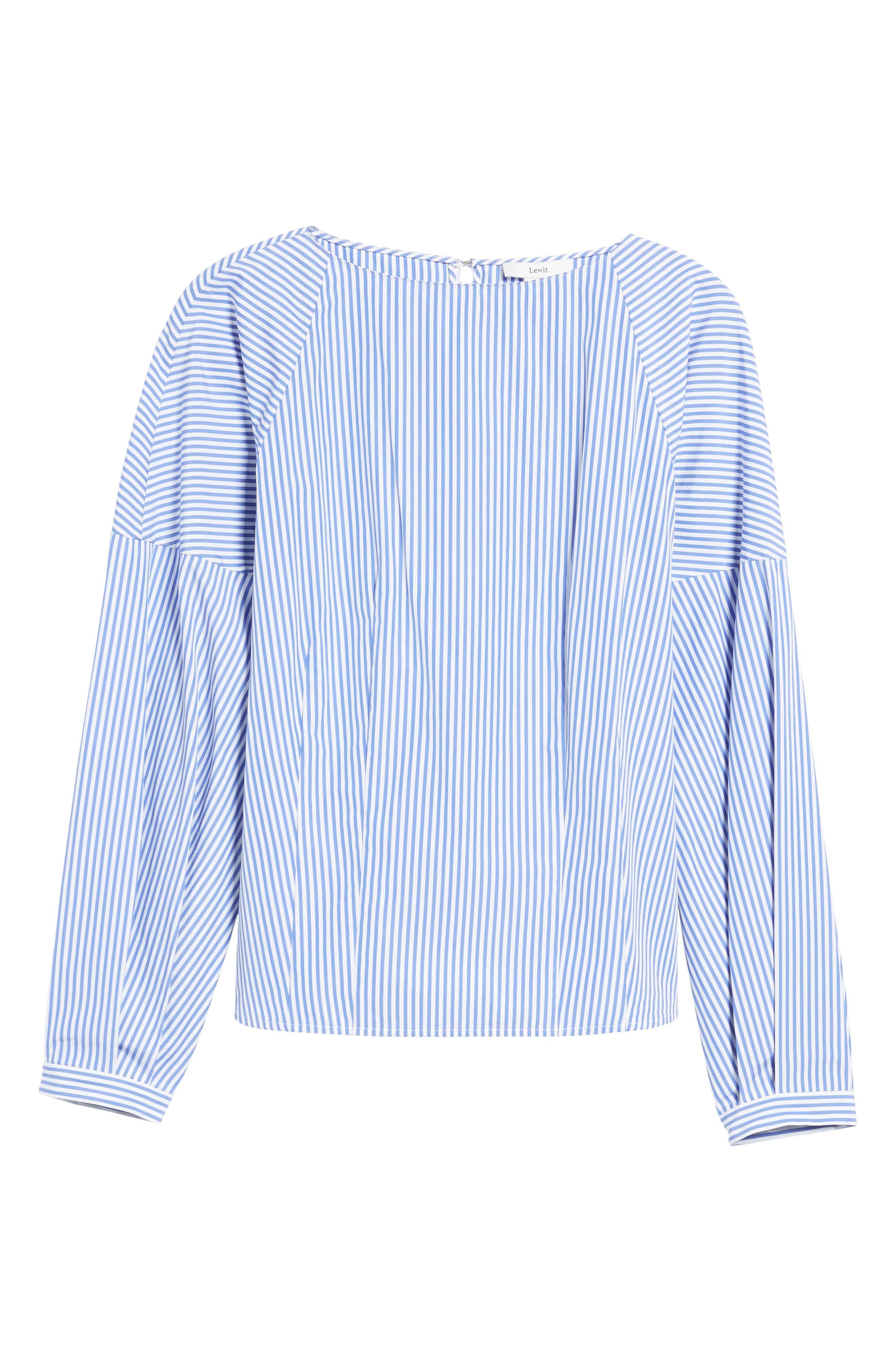 Balloon Sleeve Stripe Shirt,                             Alternate thumbnail 6, color,                             Blue Azurite Vania Stripe