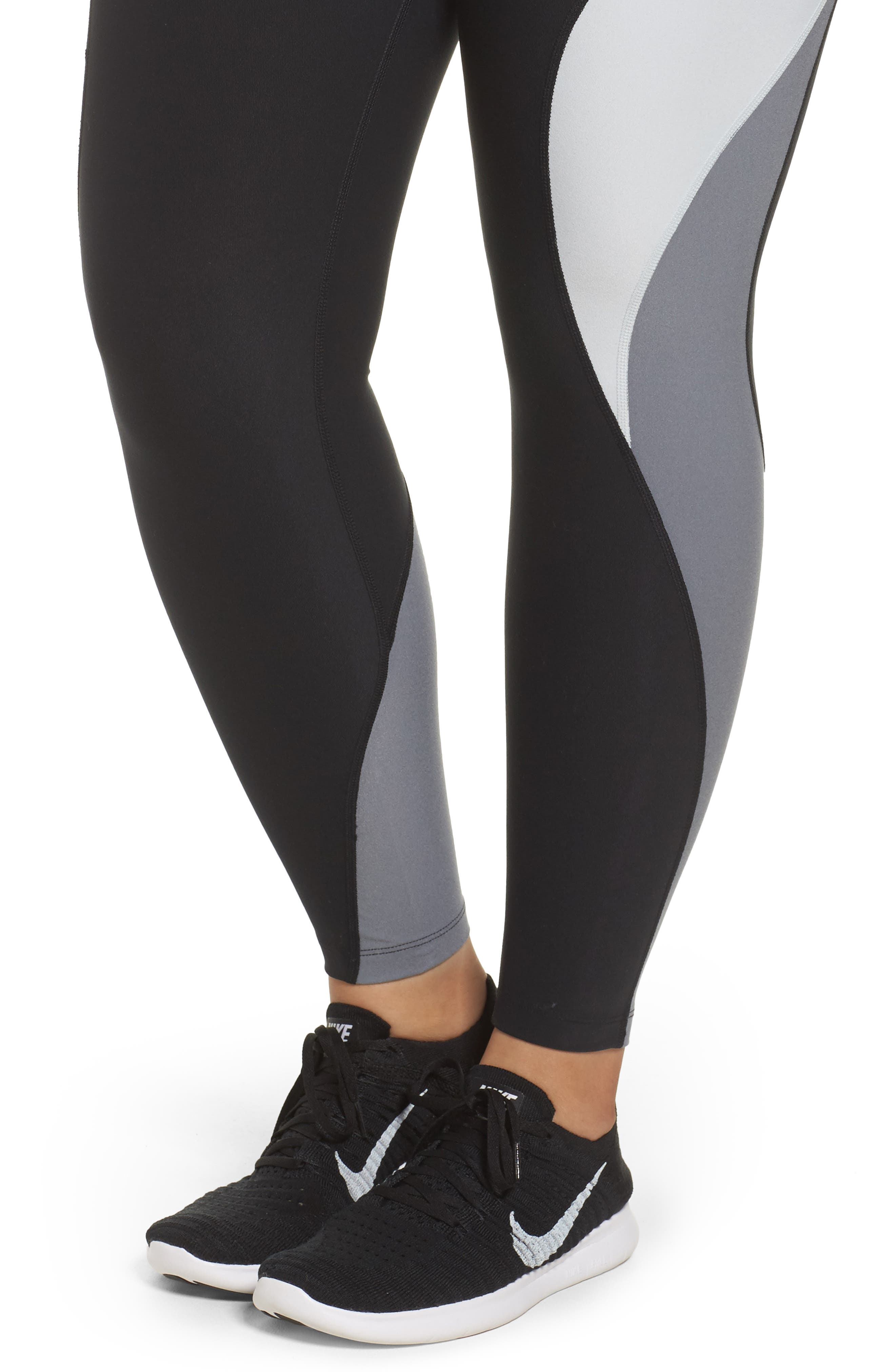 Power Legend Training Tights,                             Alternate thumbnail 4, color,                             Black/ Platinum/ Grey