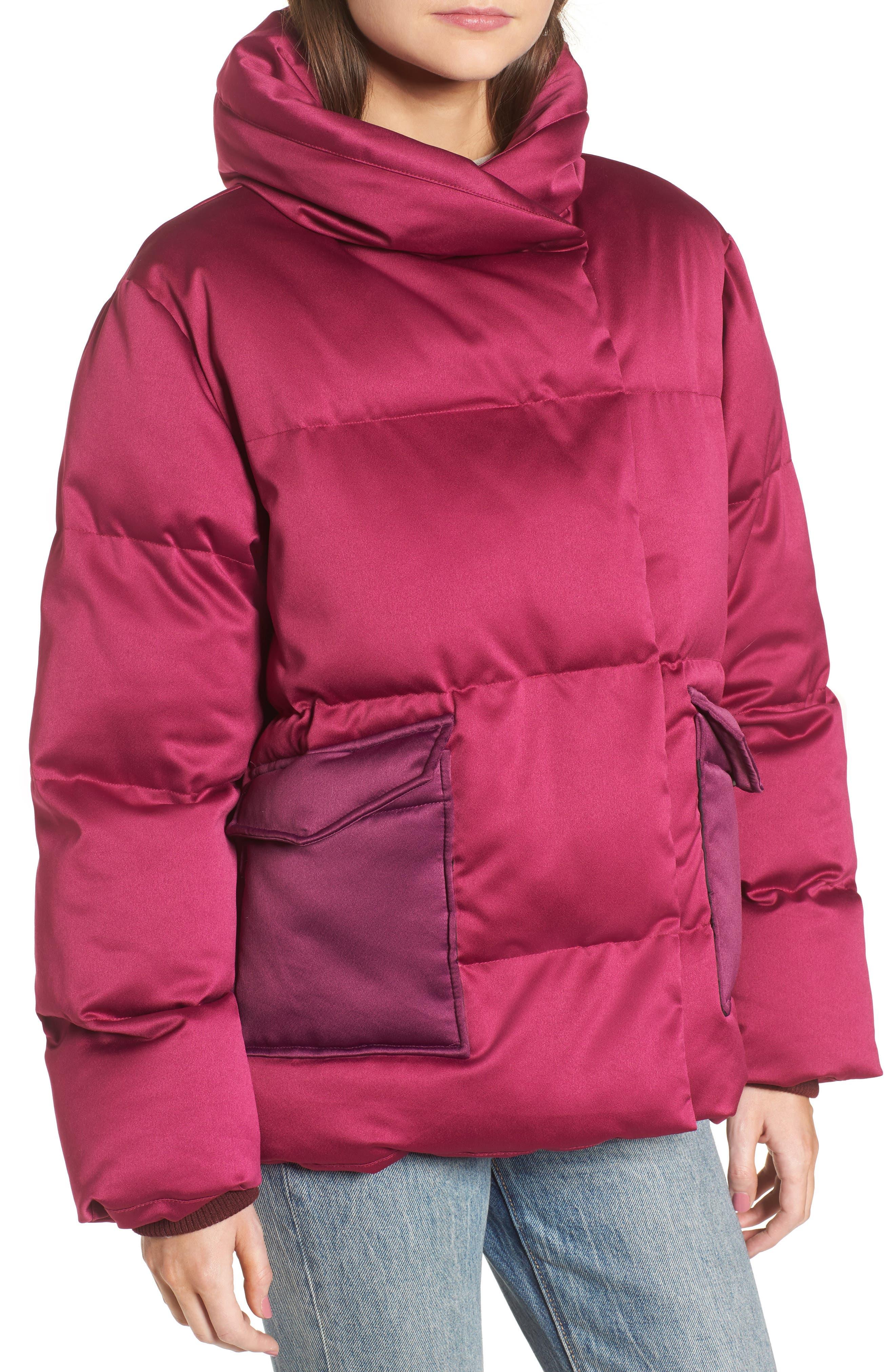 Satin Puffer Jacket,                             Alternate thumbnail 4, color,                             Bright Pink